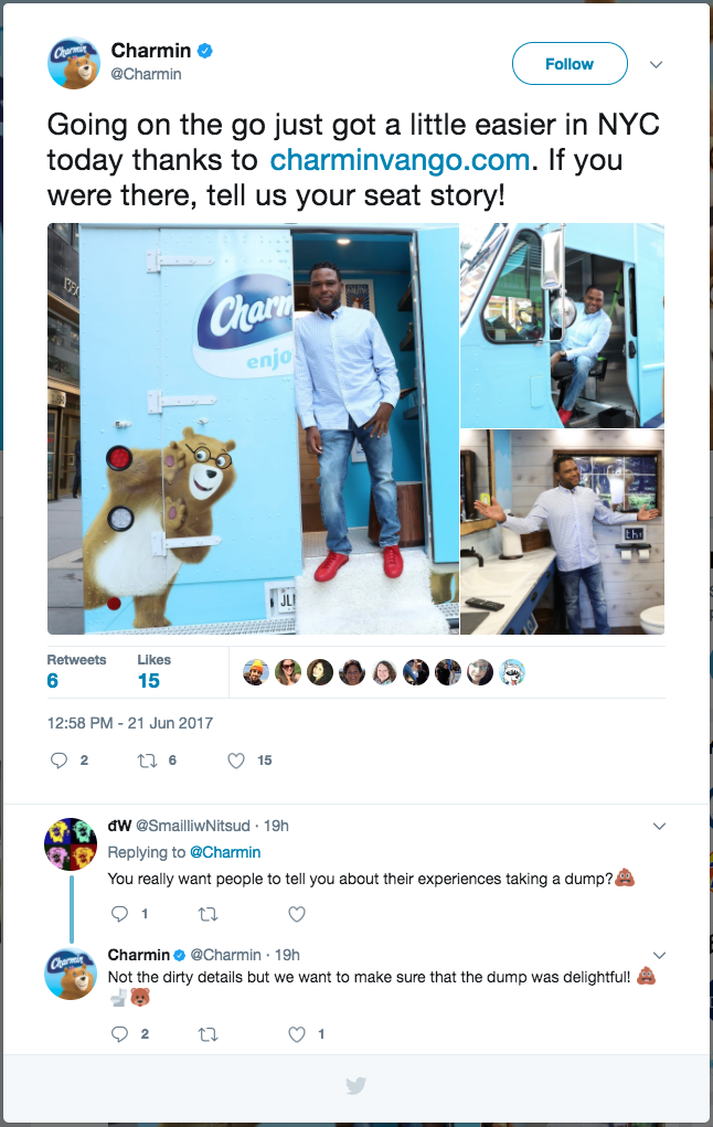 Anthony Anderson of ABC's Blackish tries out the Charmin Van-Go. ( Twitter )
