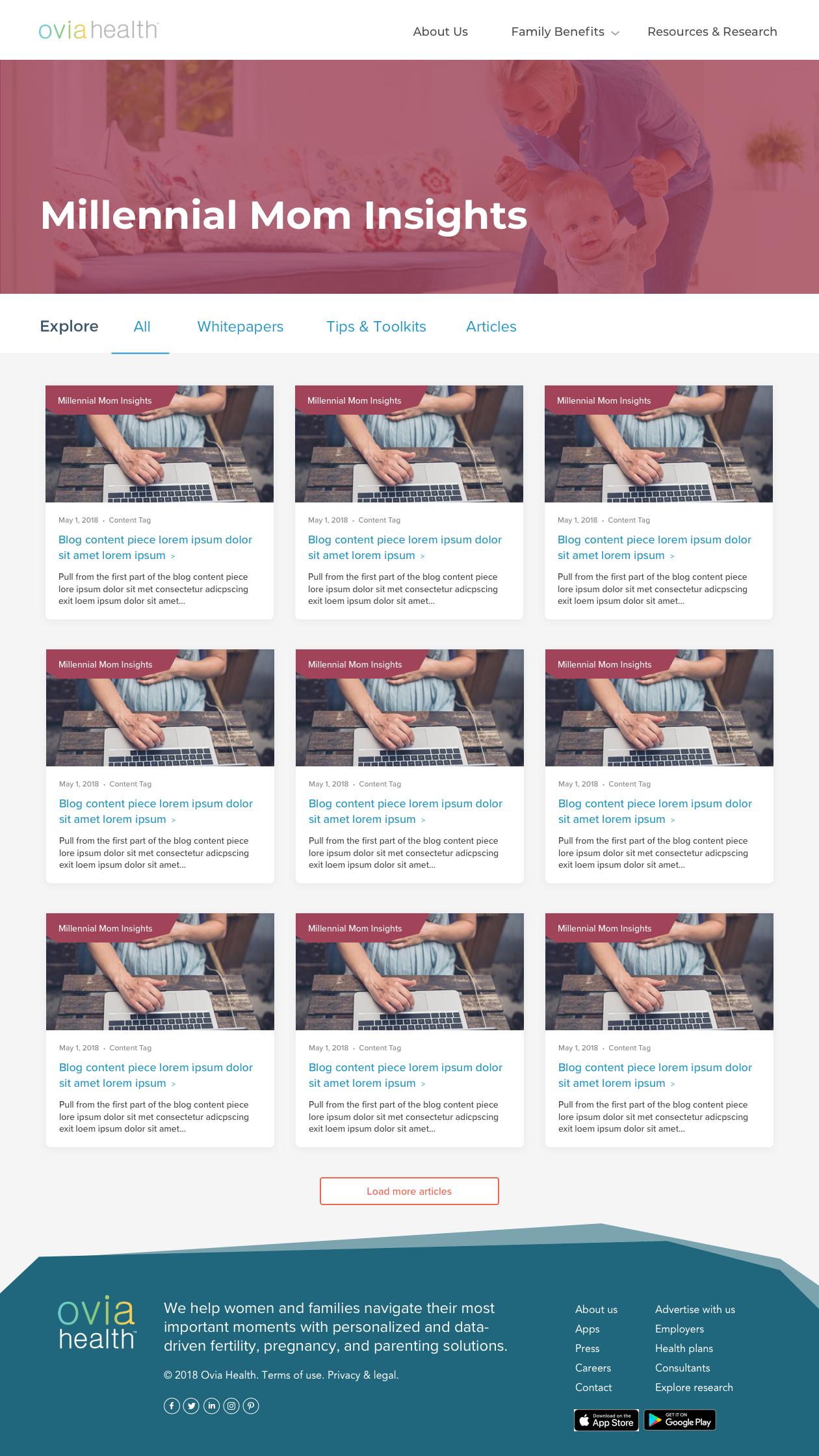 Ovia Health - Website Redesign
