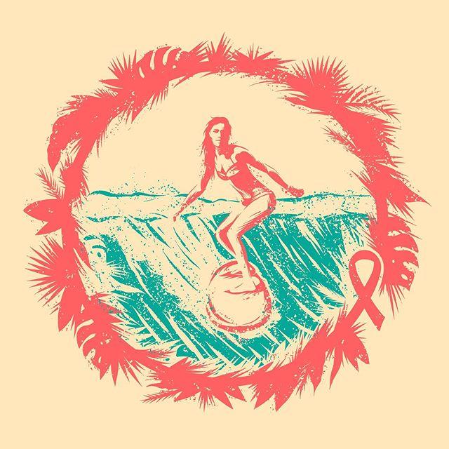 🤙🏻 Illustration for a special gift.  #illustration #design #surf #surfing #wave #flowers #breastcancer #ribbon #ipadpro #procreate #truegrittexturesupply #badgedesign @truegrittexturesupply @slowroastedco @distressedunrest @badgedesign