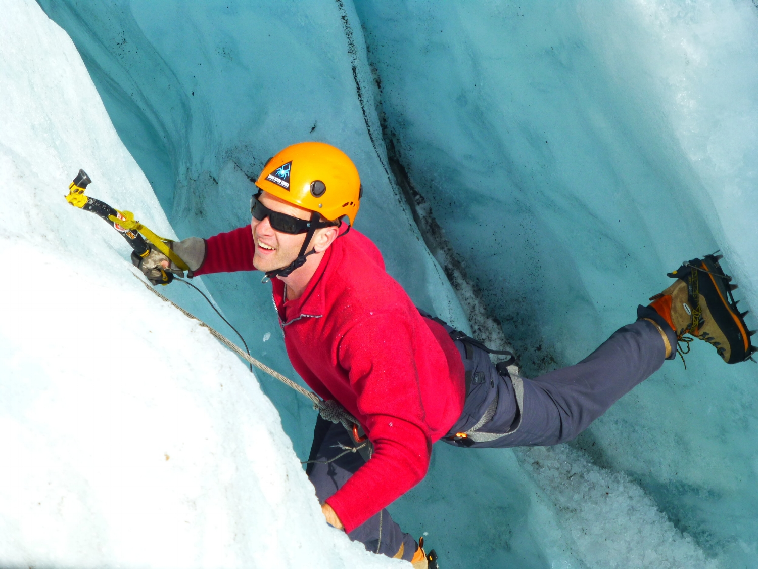 My first ice climb within a glacier in Switzerland 2013.