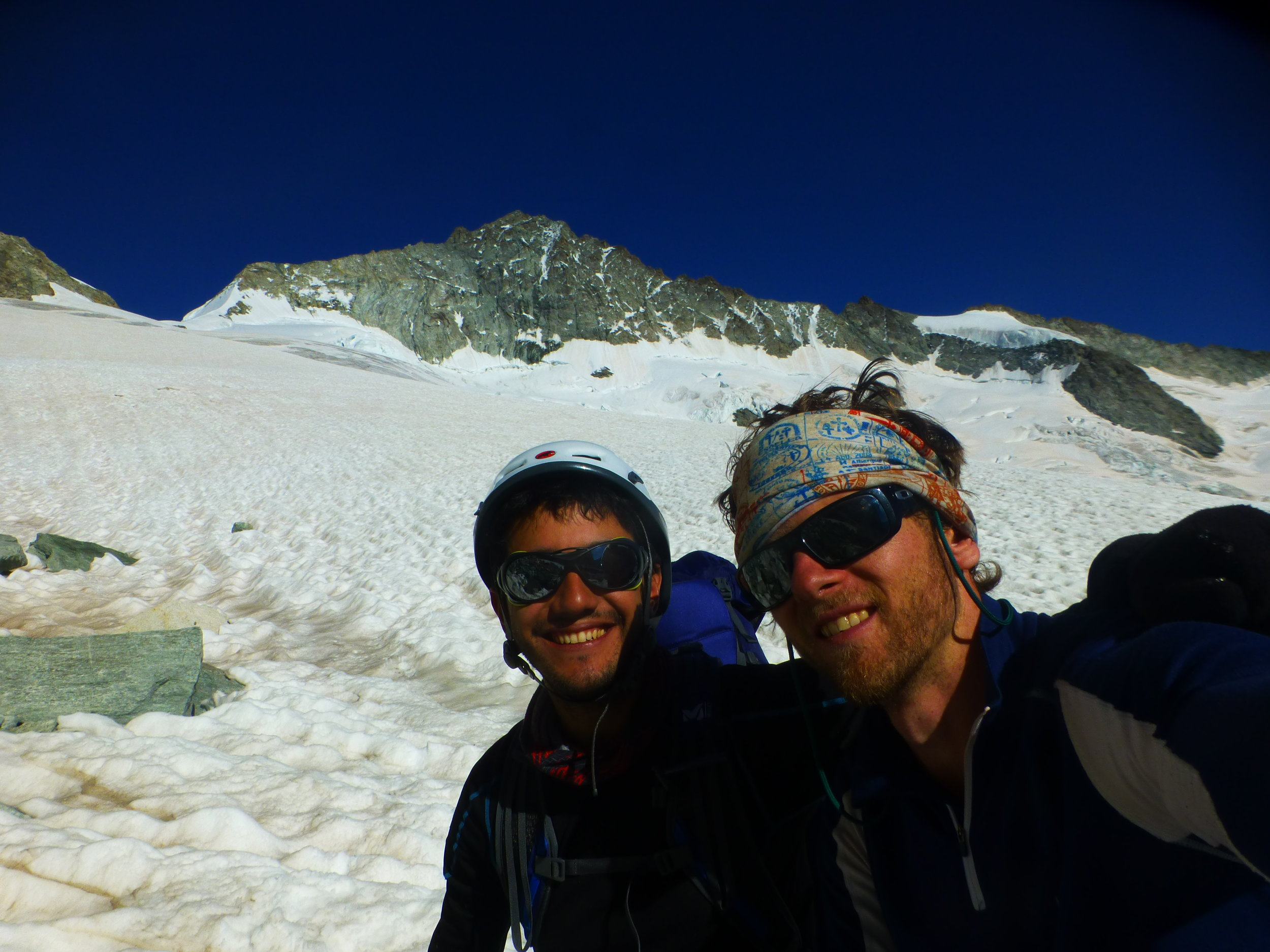 Myself and Felipe Andres at the edge of the glacier beneath the North Ridge of the Zinalrothorn after completing the route in August 2016. That trip was one of the final stepping stones leading to what I am now calling the Vertical Year.