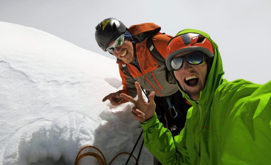 Hayden Kennedy (front) and Kyle Dempster summit shot after making the first ascent of the South Face on Ogre I. The ascent won the team a Piolet d'Or (Source:  RockandIce )