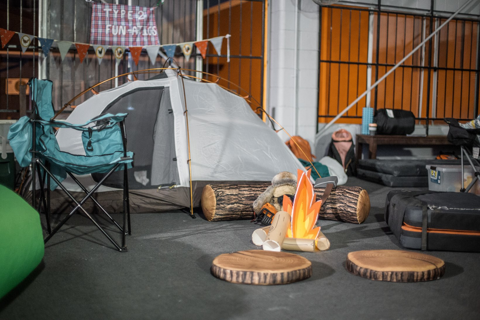 People set up some elaborate 'base camps' to help endure the suffering.