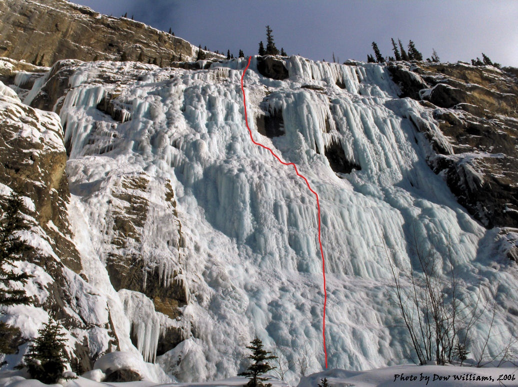 The Weeping Wall with our line of ascent marked in red. (photo by Dow Williams, summitpost.com)