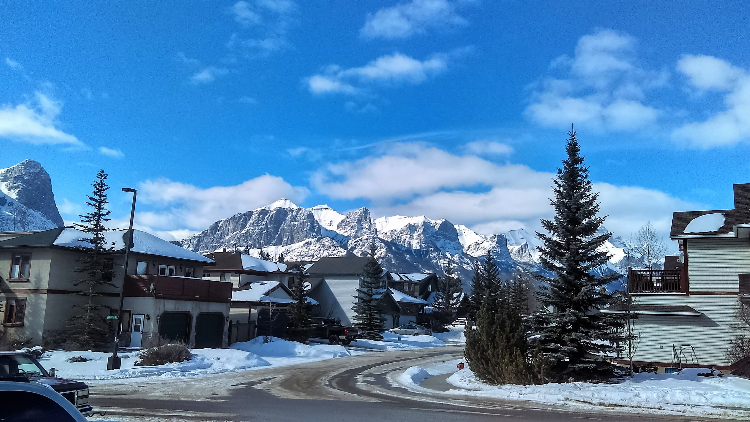 The view as I walk outside my house in Cougar Creek, Canmore.