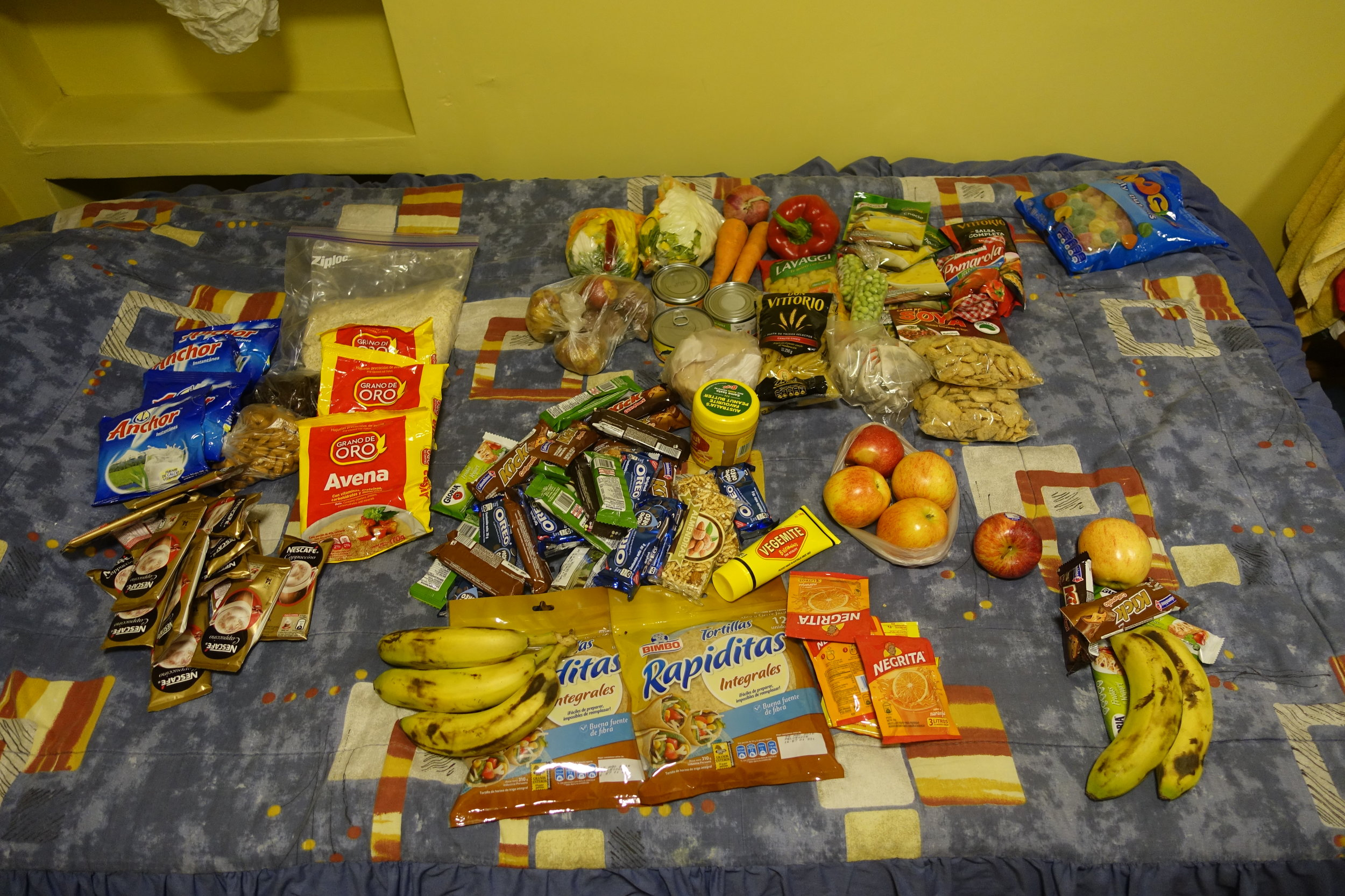 Our food supplies for our trip into Ishinca Valley. In addition to this we need our tent, climbing gear and clothes. Thank you Andrew for bringing the Vegemite!