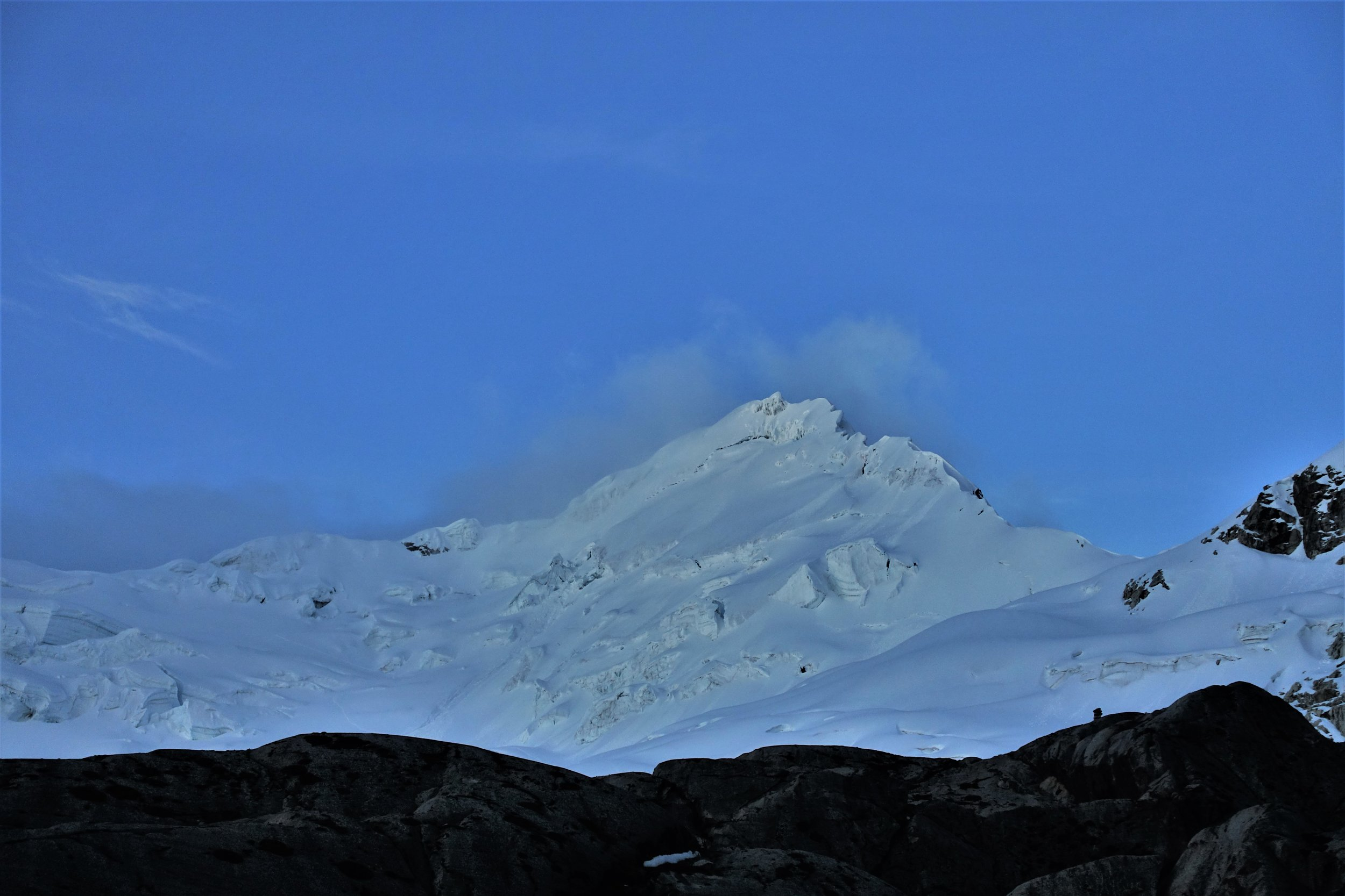The west face of Yanapaccha (5,460m) on the evening before our climb.