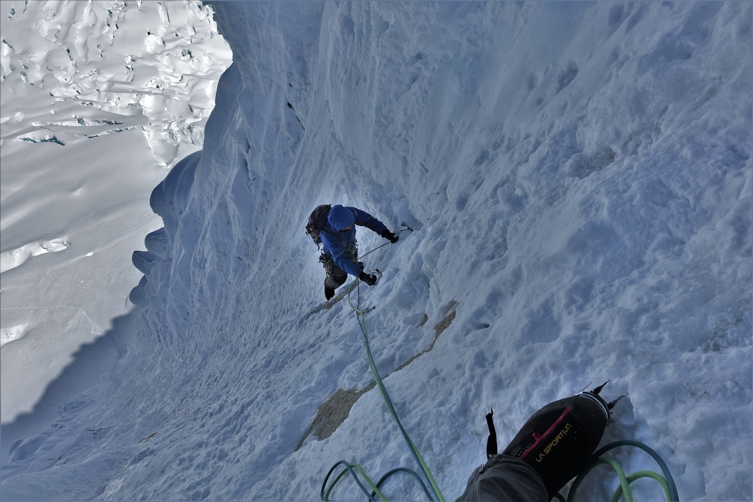 Andrew climbing the French Direct route on Alpamayo almost two years on from the accident.