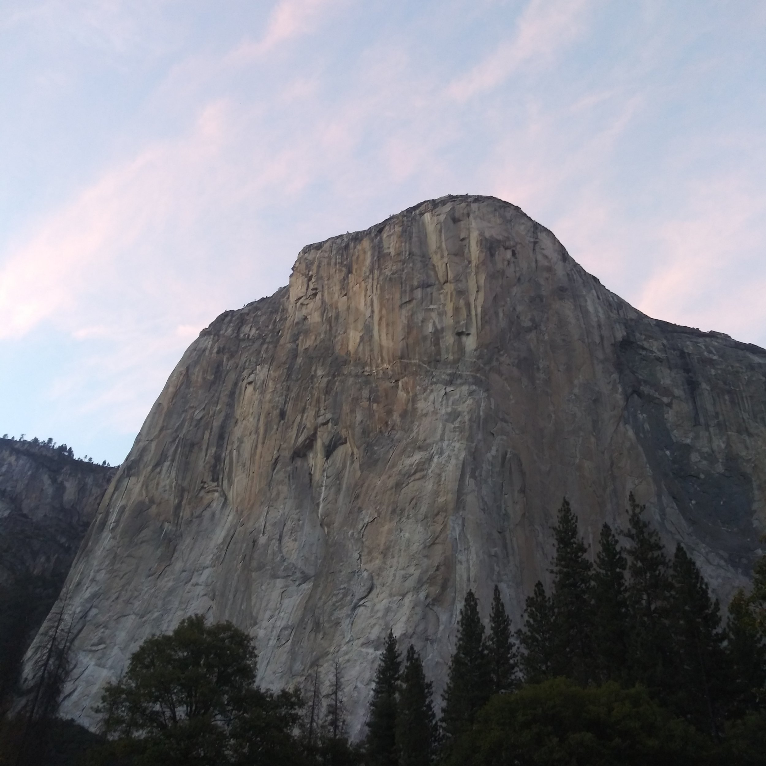 El Cap at dusk, not a bad view for dinner.
