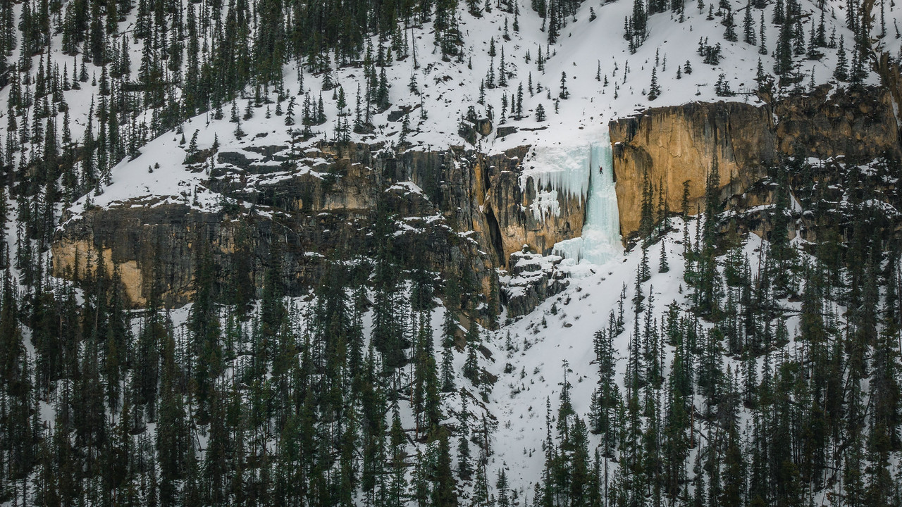 Me leading Stanely Falls Senior in the Canadian Rockies. Steep ice climbing was a technical skill I needed in order to obtain my goal and has presented other opportunities for me along the way. (Photo by Jaz Morris).