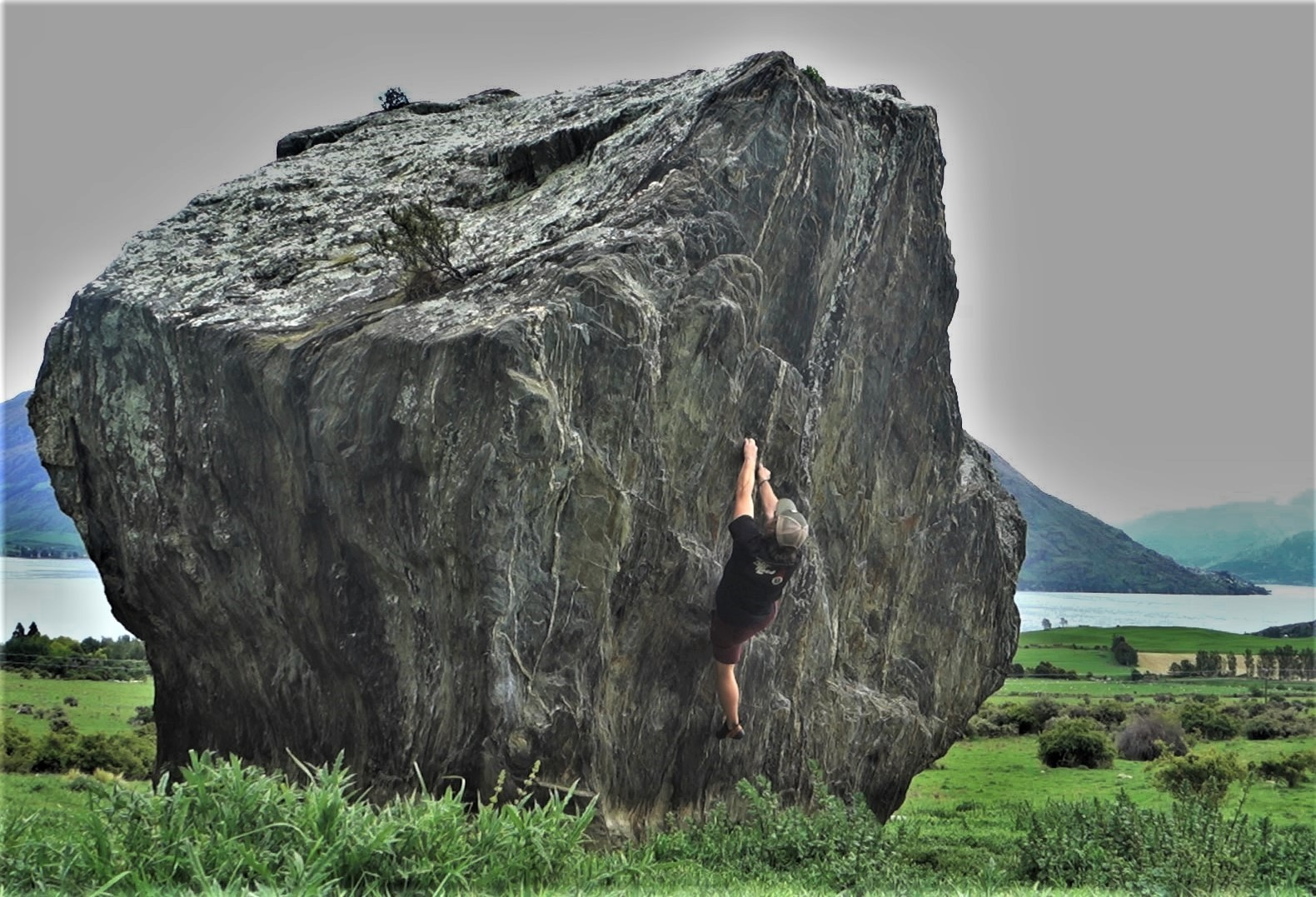Playing around on one of the boulders at Jardines.