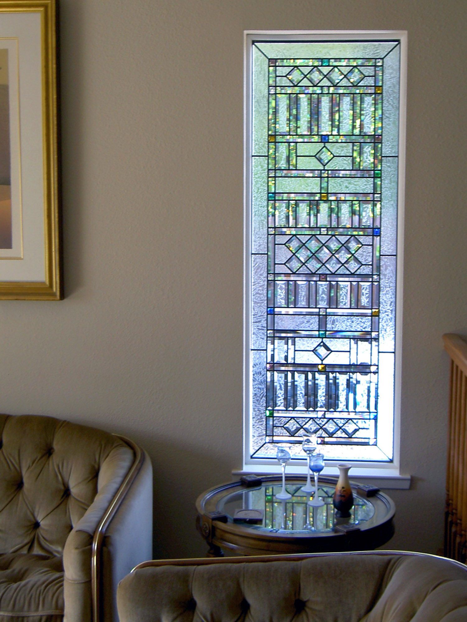 art deco ornate clear texture double glue chip pencil bevel colored glass beveled square leaded glass stained glass window palo alto atherton california san francisco.jpg