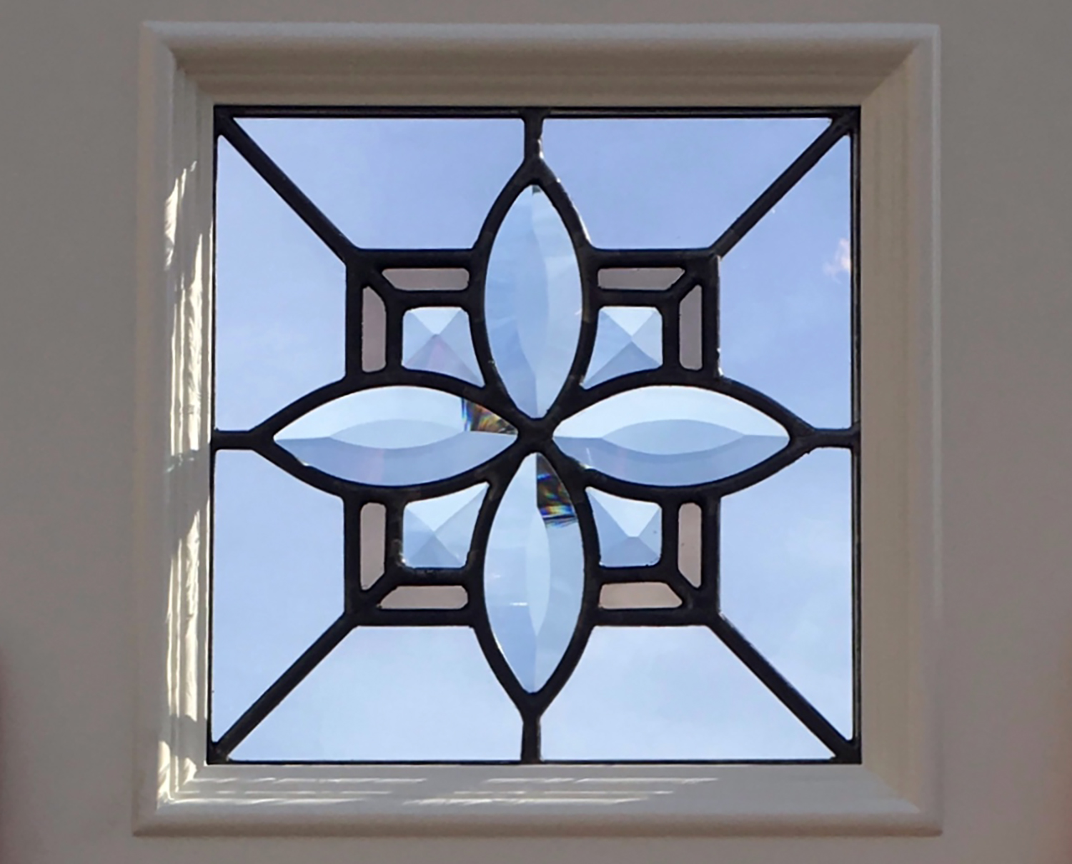 bevel cluster flower cabinet door beveled leaded glass stained glass window palo alto atherton california san francisco2.jpg