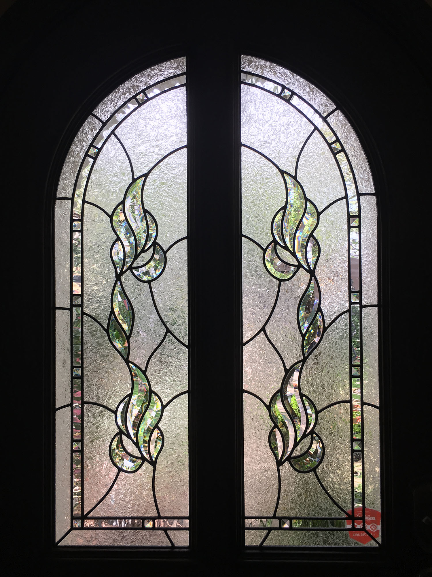 bevel cluster clear texture double glue chip beveled leaded glass stained glass window palo alto atherton california san francisco.jpg