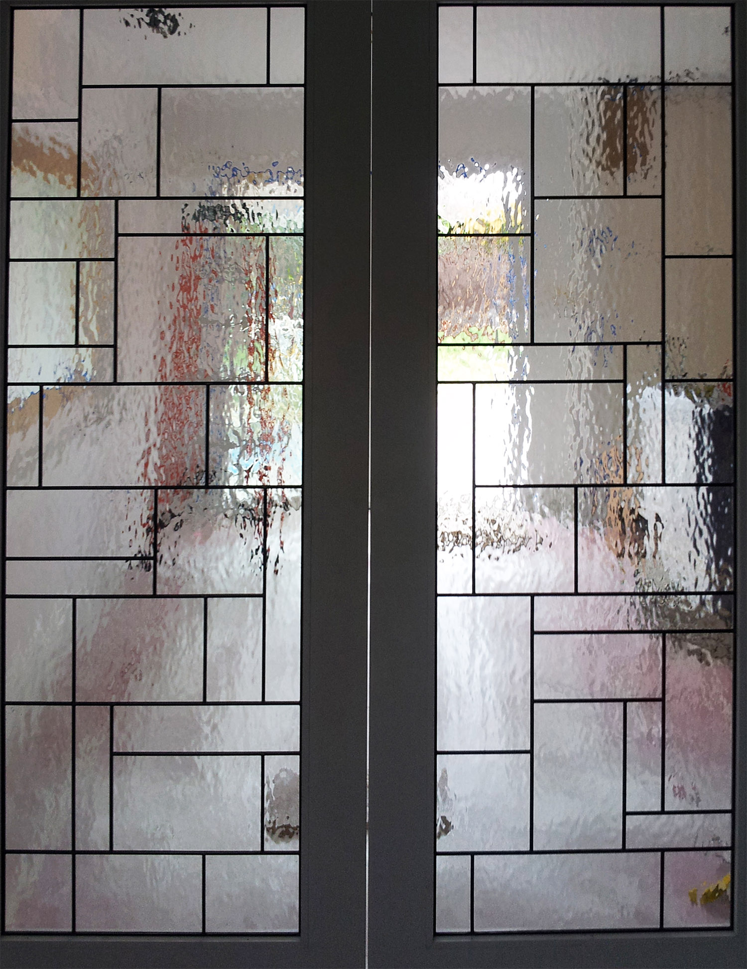 abstract geometric rough rolled clear texture leaded glass stained glass window palo alto atherton california san francisco san jose legacy glass.jpg