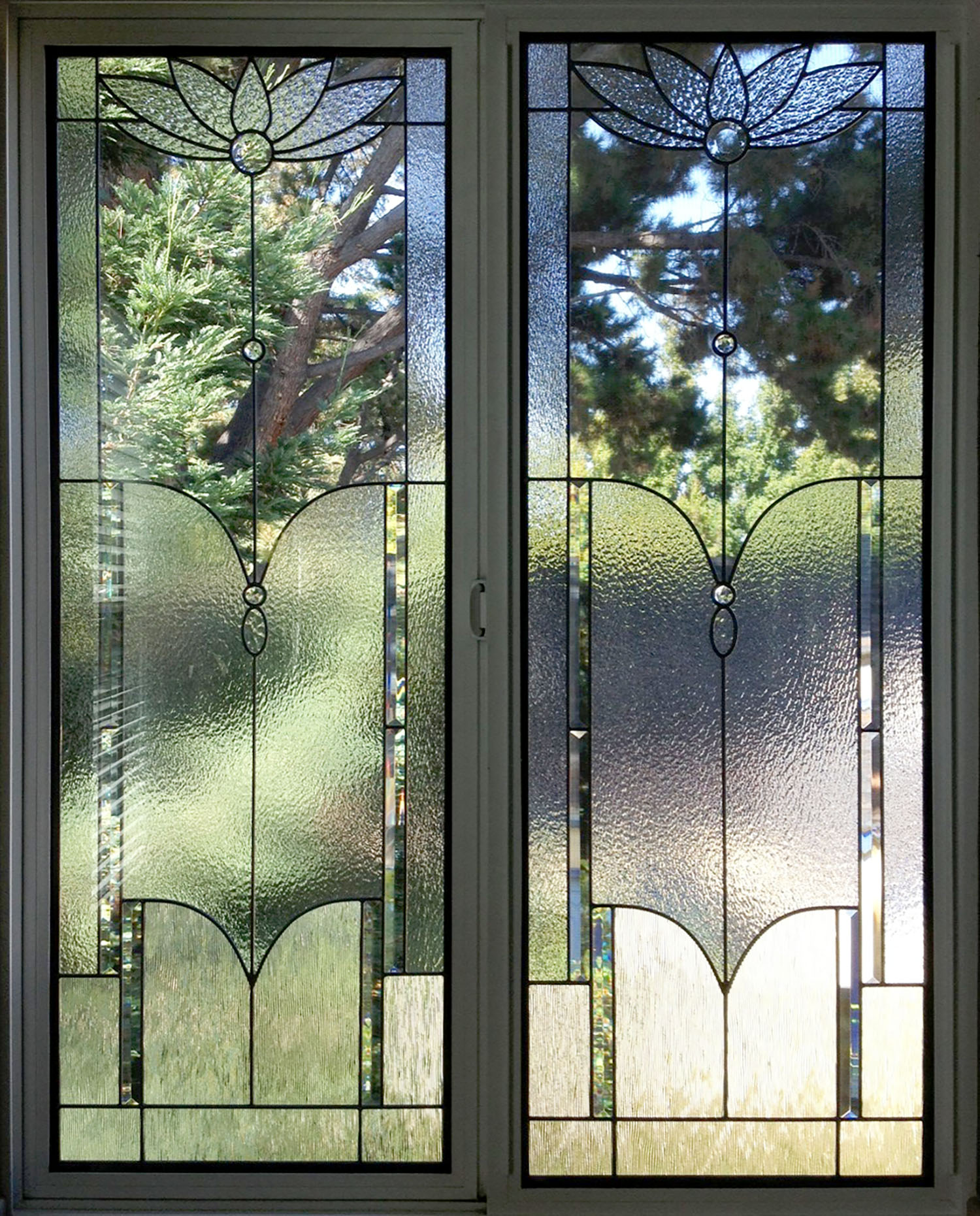 flower floral clear texture rough rolled corded glass craftsman leaded glass stained glass window palo alto atherton california san francisco san jose.jpg