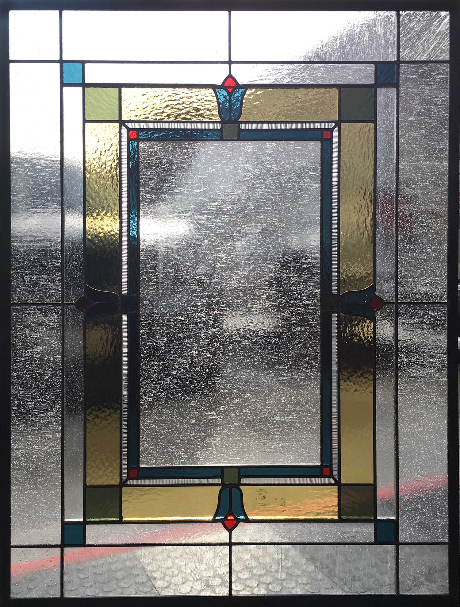 tulip floral accent seedy glass granite clear texture craftsman leaded glass stained glass window palo alto atherton california san francisco san jose.jpg