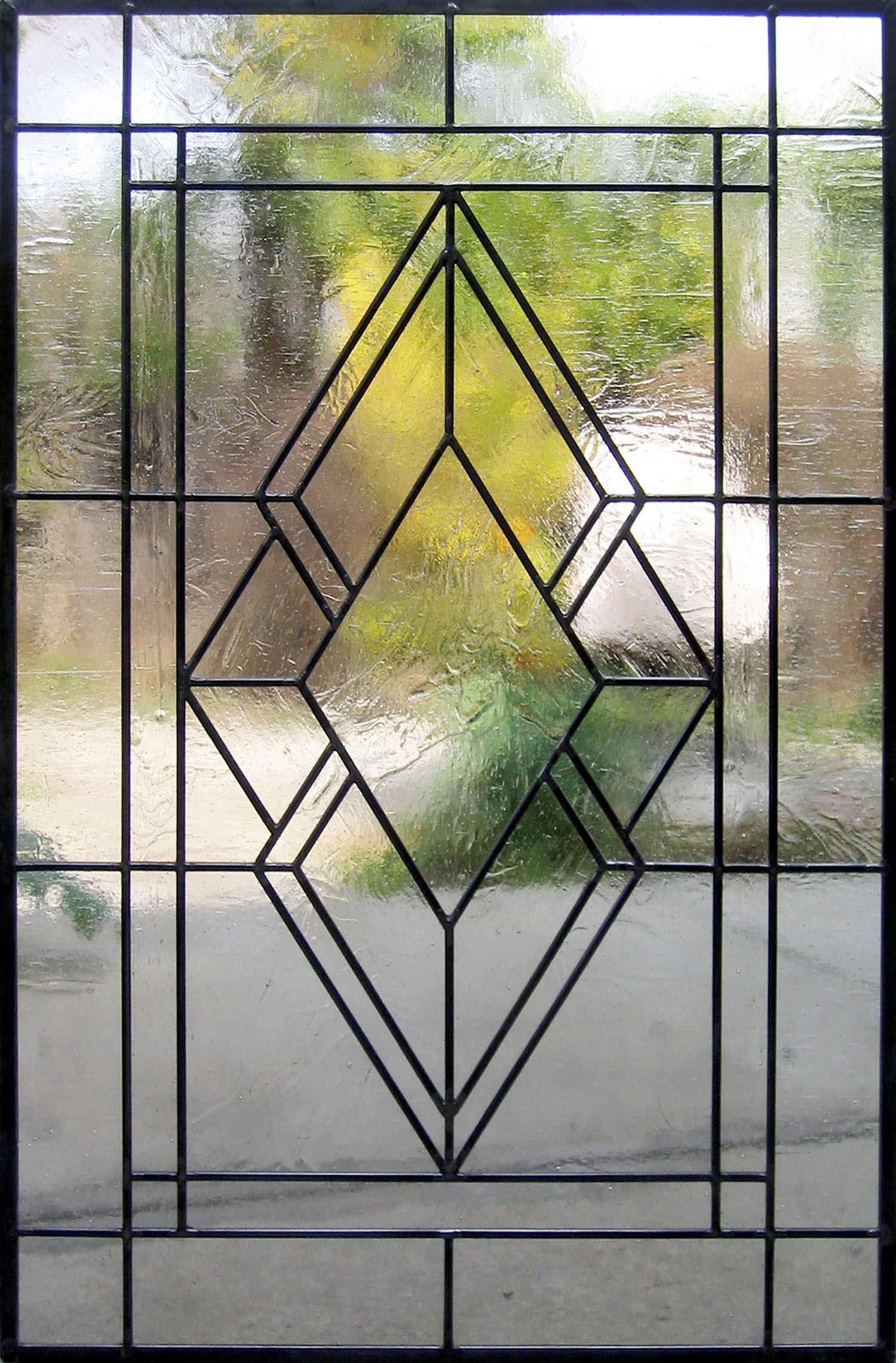 art deco diamond clear texture craftsman leaded glass stained glass window palo alto atherton california san francisco san jose.jpg