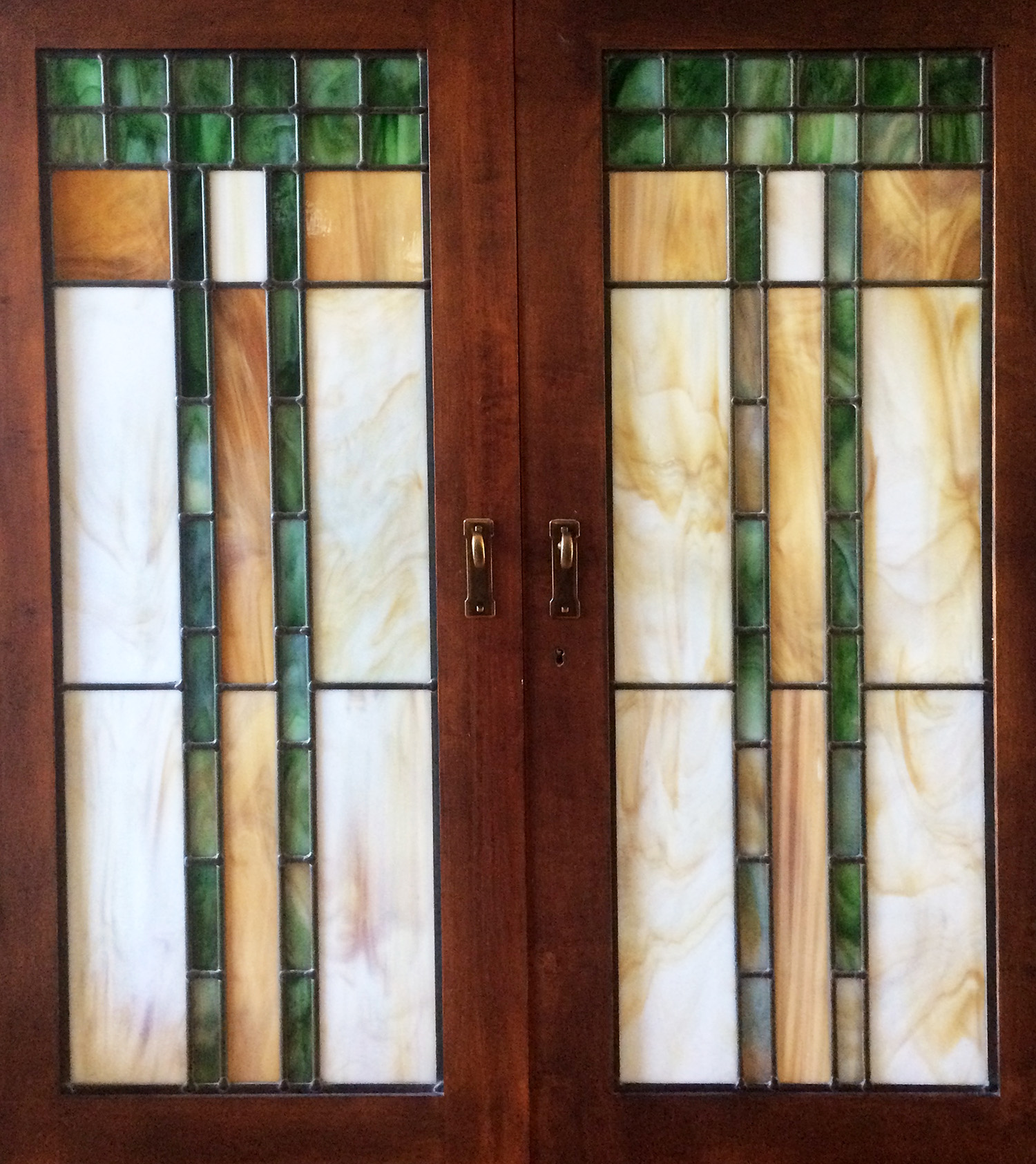 opaque colored glass craftsman geometric leaded glass stained glass window palo alto atherton california san francisco san jose.jpg