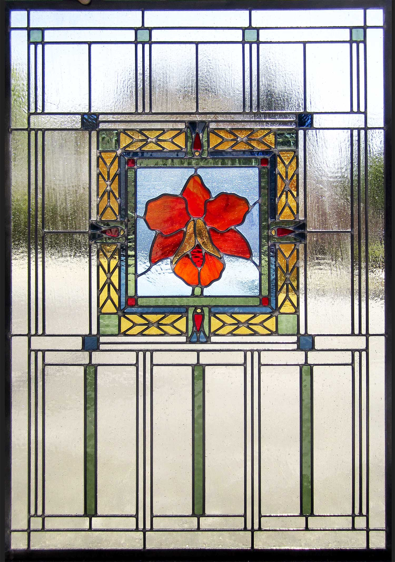 flower floral orchid geometric detail craftsman leaded glass stained glass window palo alto atherton california san francisco san jose.jpg
