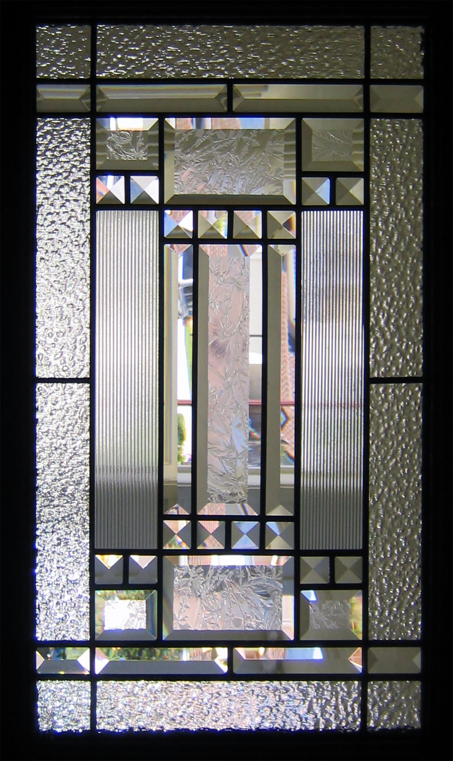 art deco pencil bevel clear texture corded glass granite frank lloyd wright craftsman leaded glass stained glass window palo alto atherton california san francisco san jose.jpg