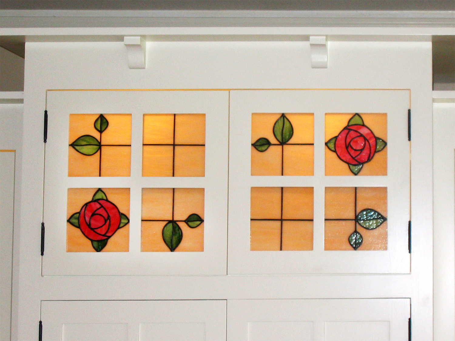 flower floral rose craftsman leaded glass stained glass window palo alto atherton california san francisco san jose.jpg