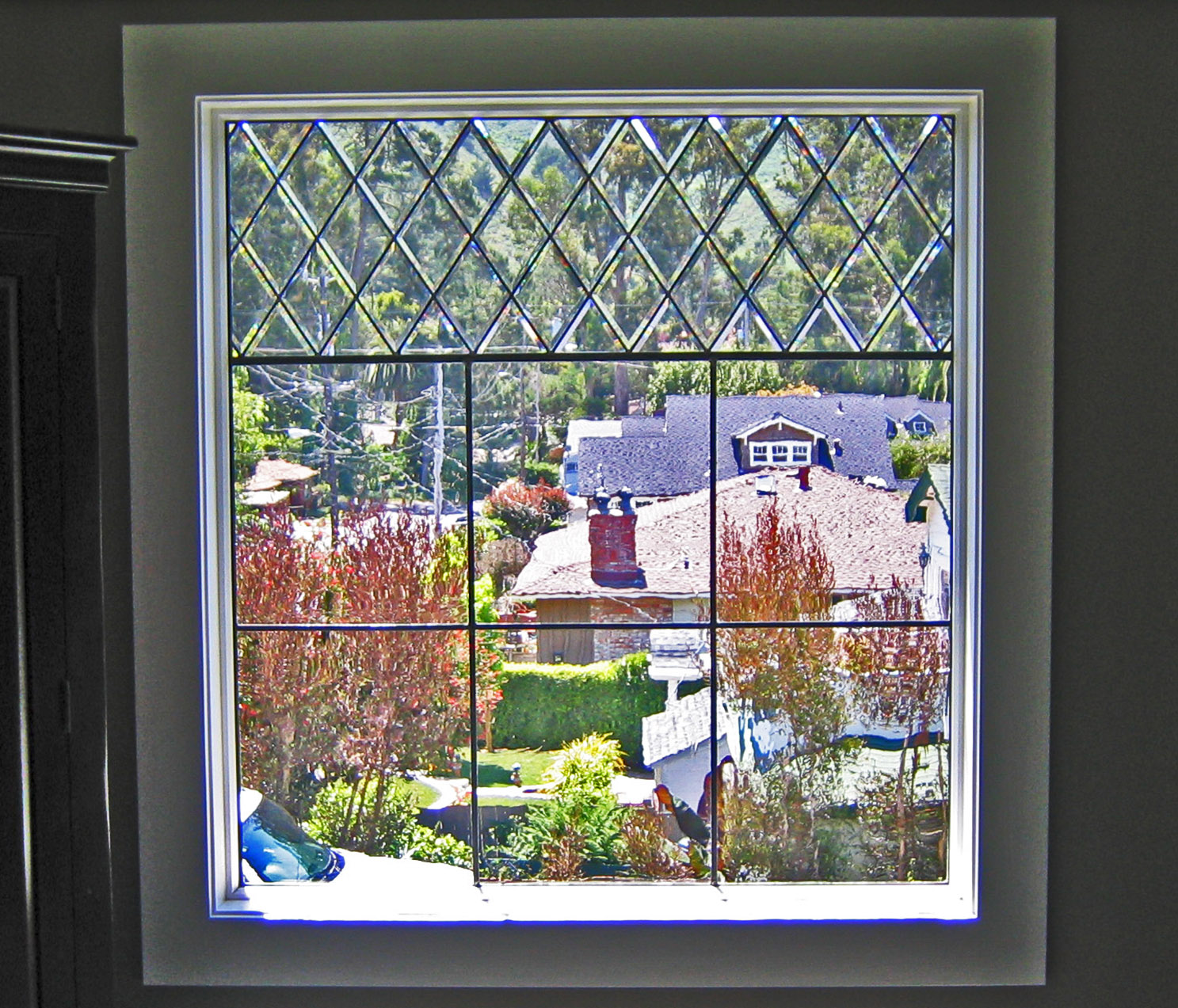 bevel diamond clear texture leaded glass stained glass window palo alto atherton california san francisco san jose legacy glass.jpg