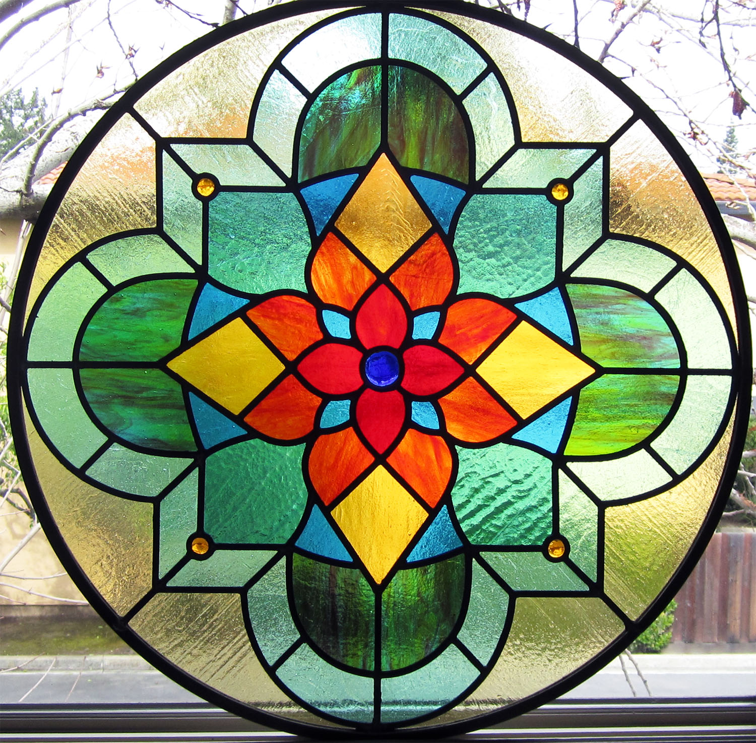 traditional spanish quatrefoil leaded glass stained glass studio palo alto atherton california san francisco san jose legacy glass.jpg