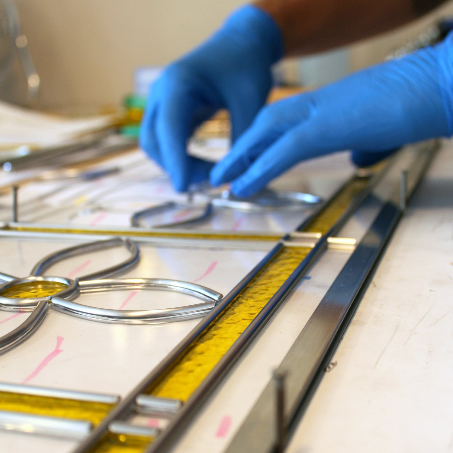 fabricating leaded glass panel stained glass studio palo alto atherton california san francisco san jose legacy glass.jpg