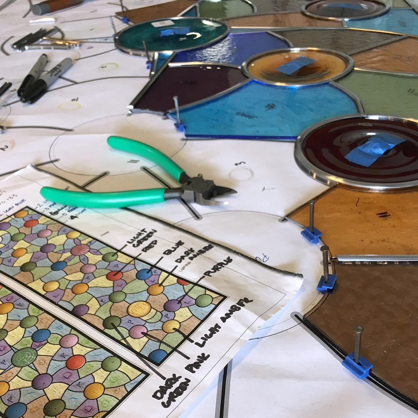 fabricating leaded glass rondel leaded glass stained glass studio palo alto atherton california san francisco san jose legacy glass2.jpg