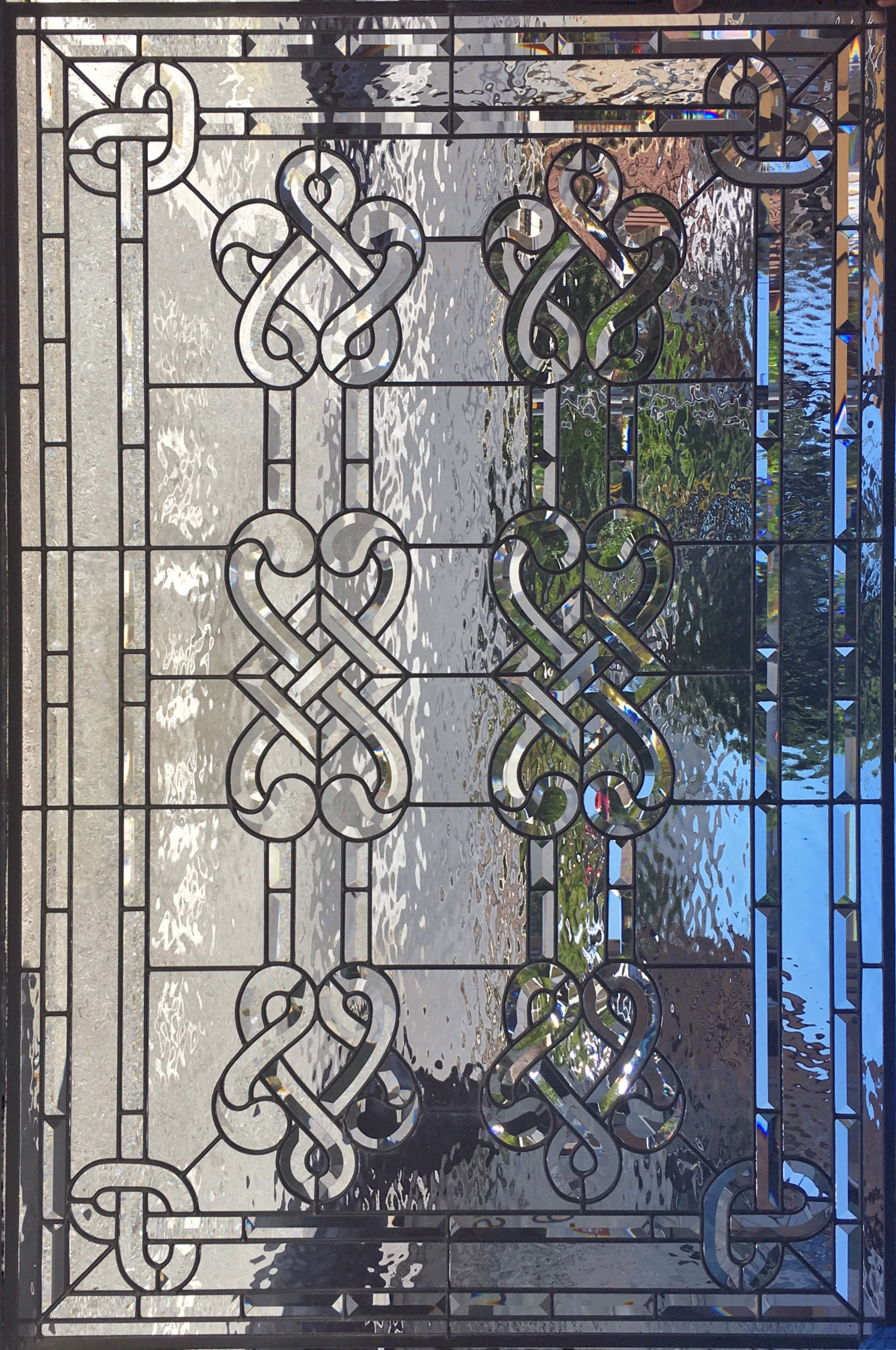 beveled celtic knot water glass classic design leaded glass stained glass legacy glass atherton san jose menlo park san francisco california.JPG