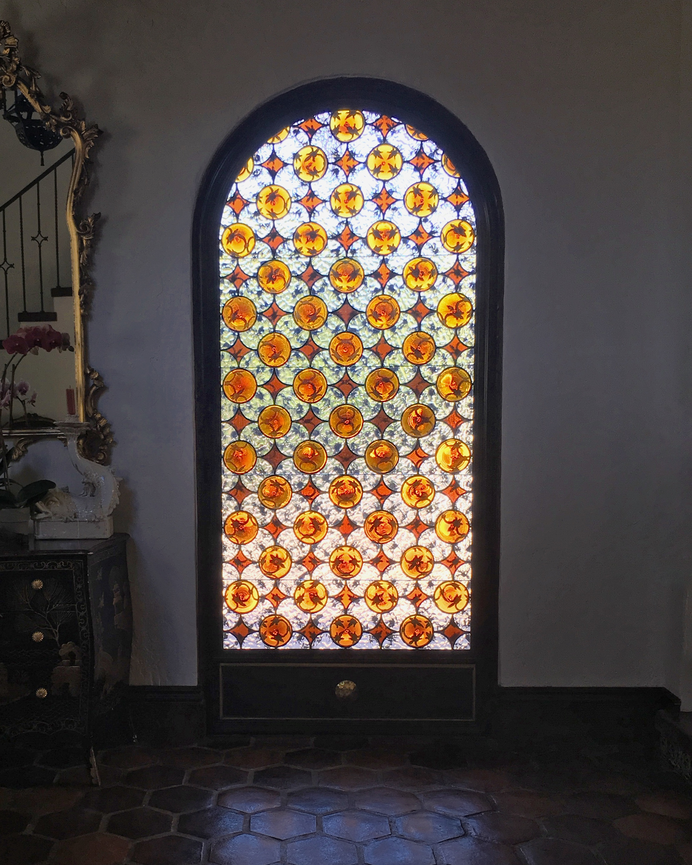 traditional pattern geometric classic design rondel spanish design arched leaded glass stained glass legacy glass atherton san jose menlo park san francisco california.JPG