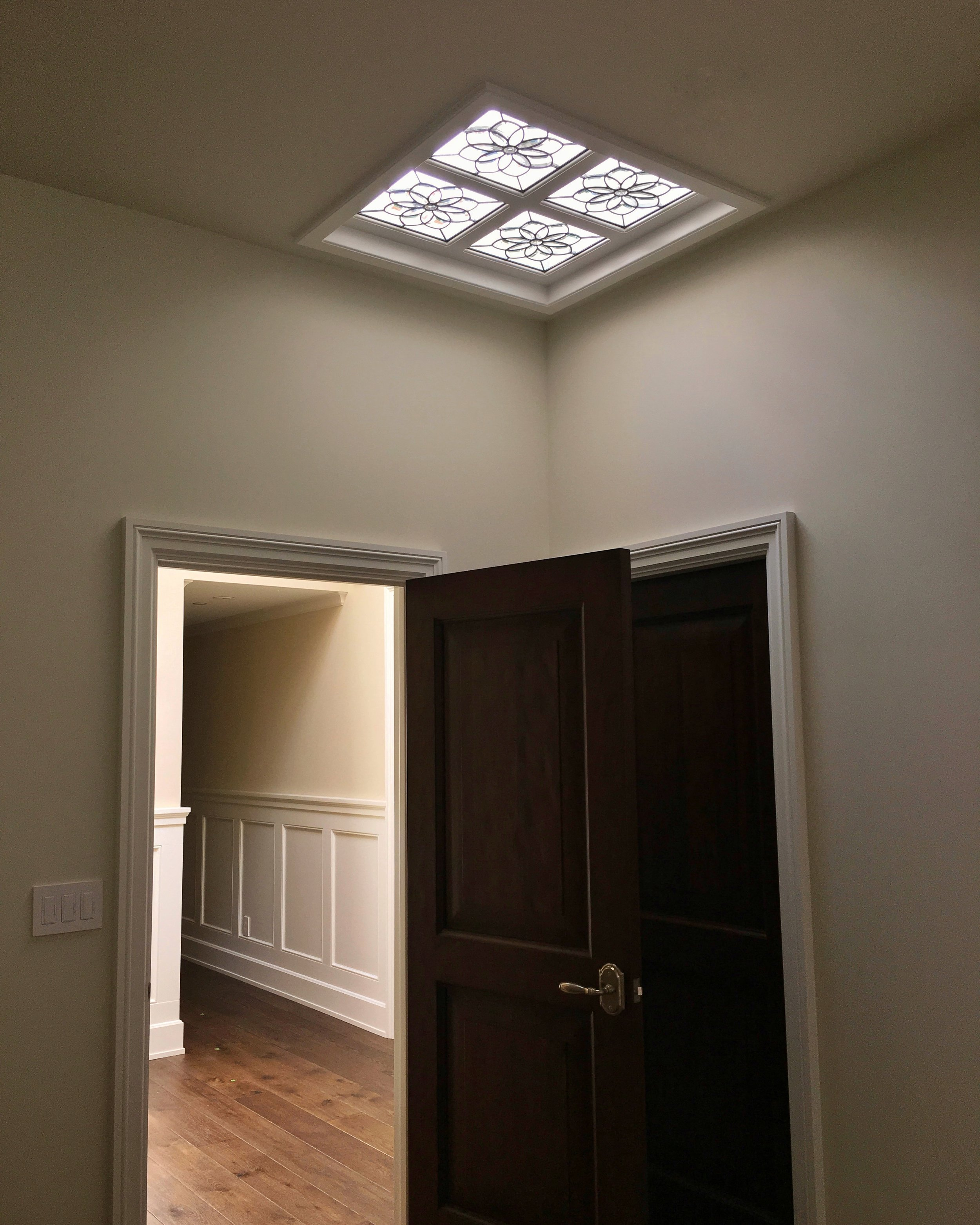 bevel cluster floral leaded glass stained glass skylight clear textured glass palo alto atherton menlo park san jose san francisco bay area legacy glass.JPG