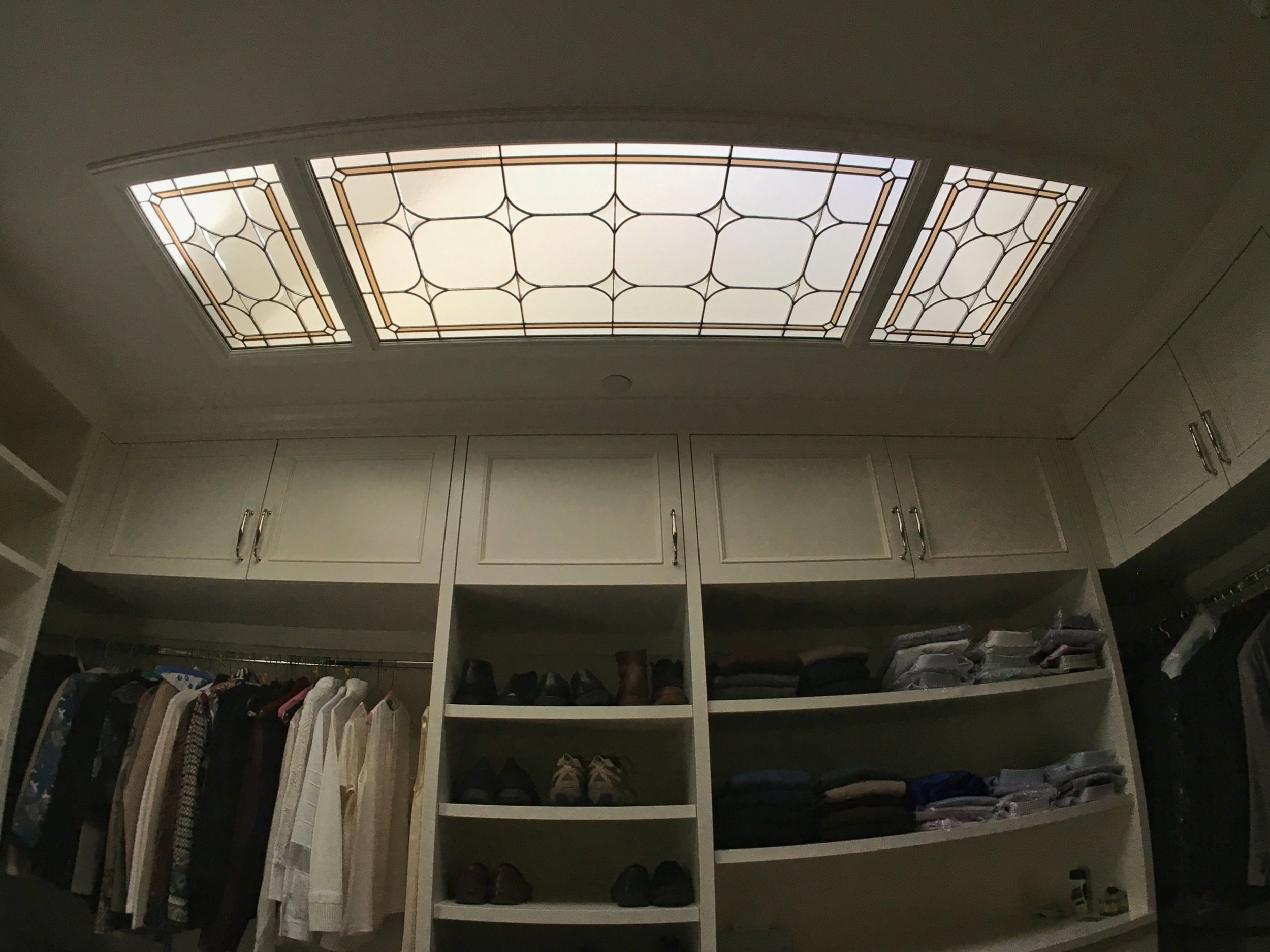 bevel leaded glass stained glass skylight walk in closet clear textured glass palo alto atherton menlo park san jose san francisco bay area legacy glass.JPG