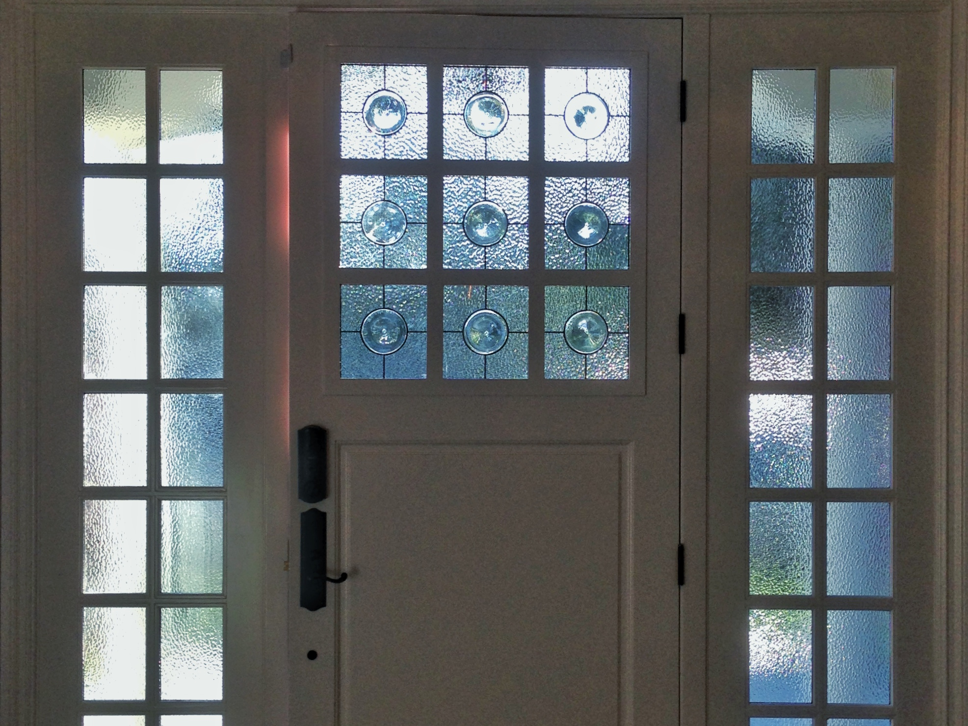 rondel leaded glass stained glass clear textured glass palo alto atherton menlo park san jose san francisco bay area legacy glass.JPG