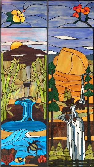 A client, whose favorite past time is hiking, wanted to commemorate his favorite hikes in California and Hawaii in 4 cabinets doors. We symbolized his 3-person family with 3 bears at Yosemite, and each state with its state flower.