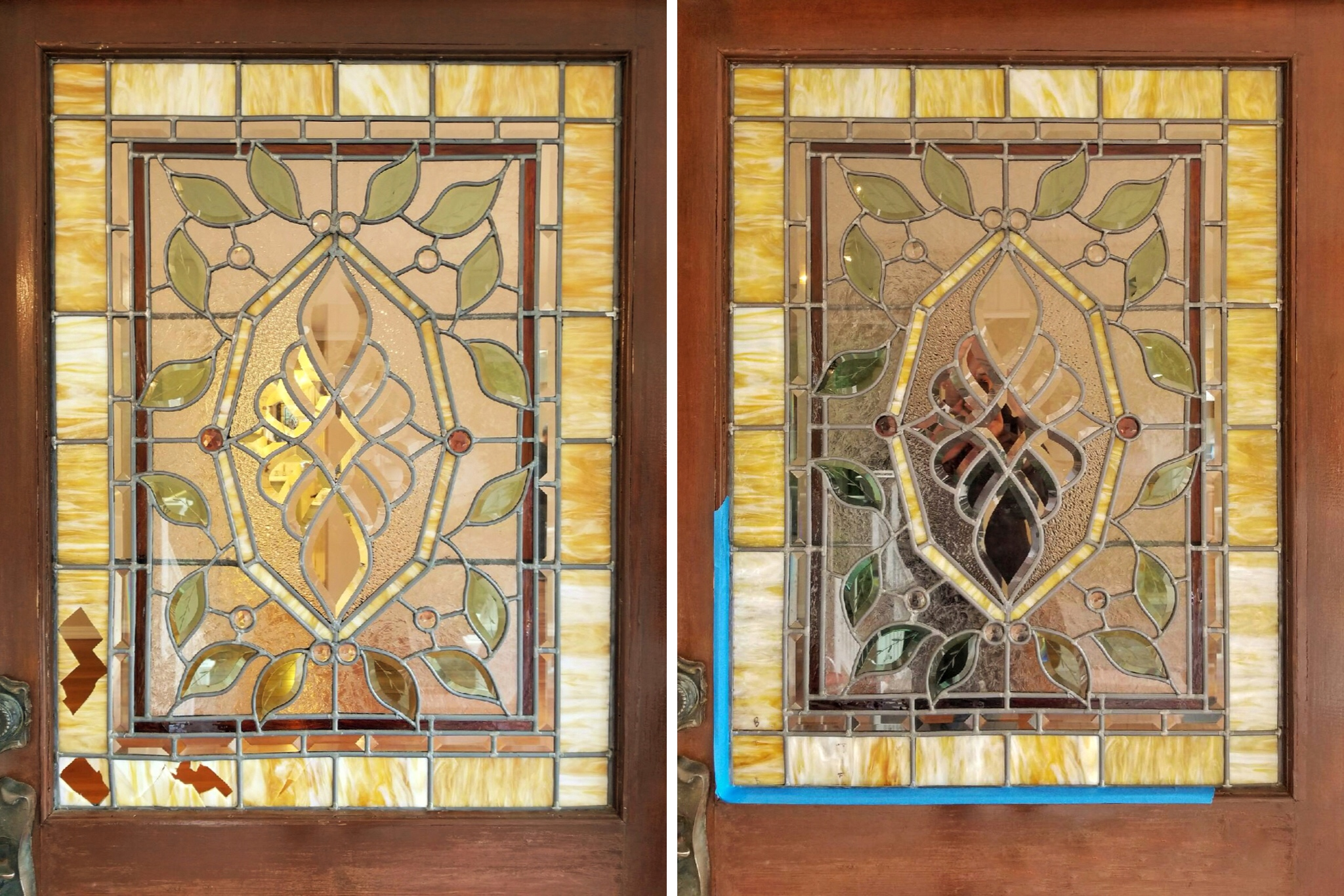 In a quick 4-hour visit, we replaced these 5 pieces of broken glass in the front door of this rental property.