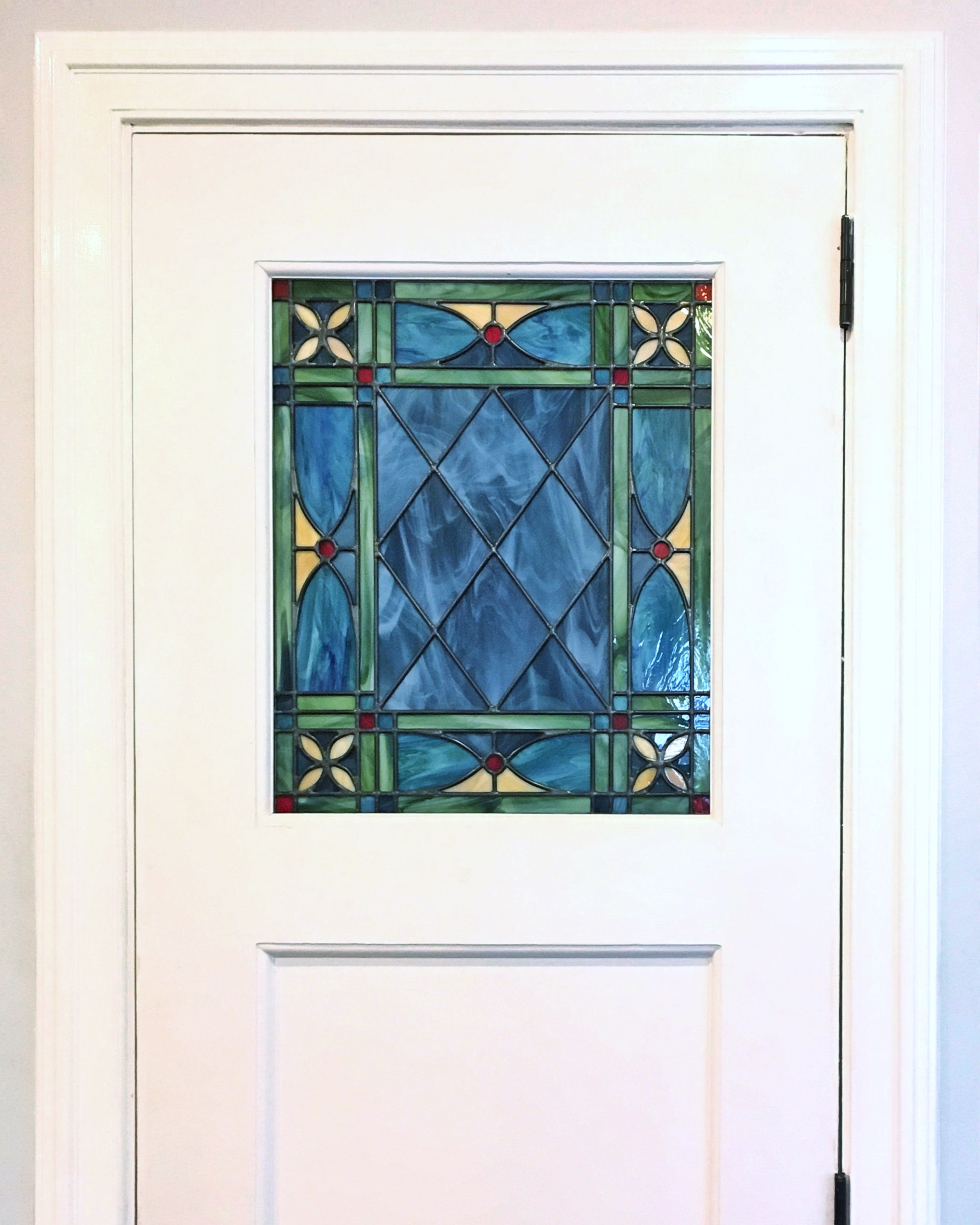 Stained Leaded Glass Legacy Glass Studios Atherton San Francisco Menlo Park California Custom Design Craftsman Pantry Door Colorful.JPG