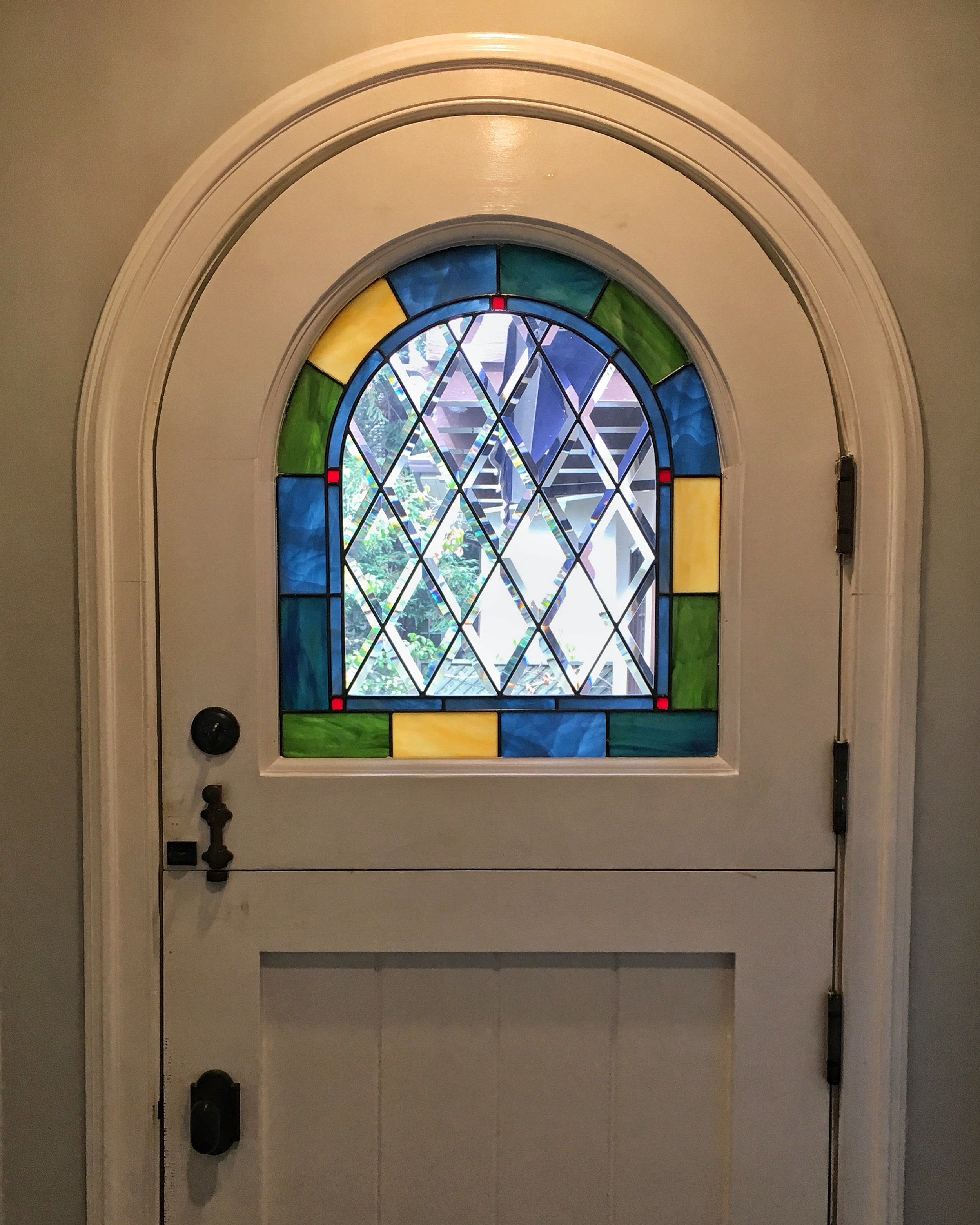 Stained Leaded Glass Legacy Glass Studios Atherton San Francisco Menlo Park California Custom Design Craftsman Dutch Arched Door Beveled Diamonds Colorful.JPG