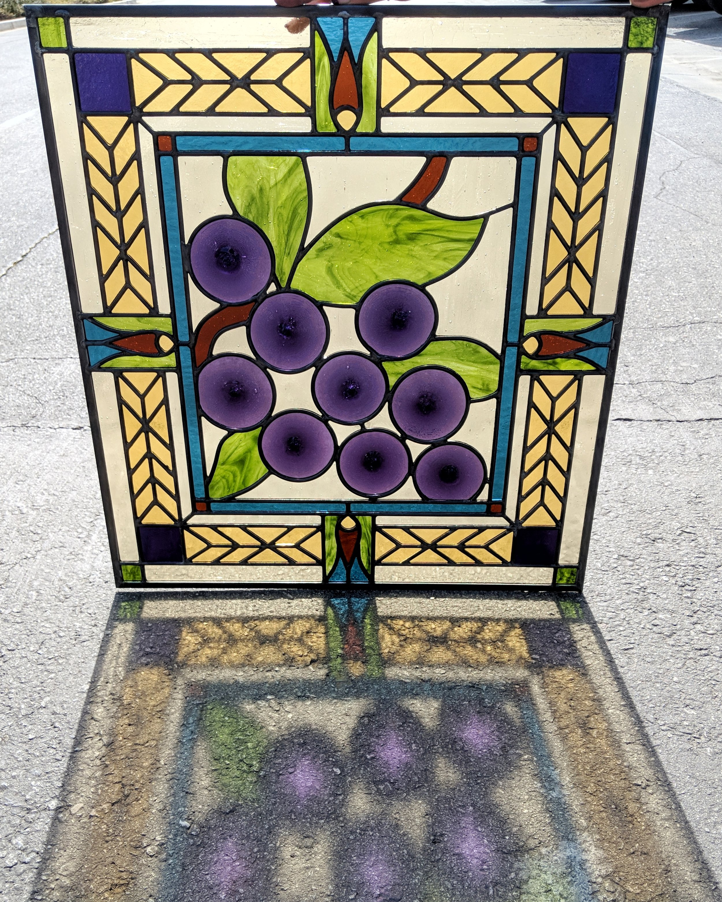 stained glass leaded glass design legacy glass studios menlo park bay area california craftsman home wine room door grapes vineyard rondels kokomo tulip floral cathedral glass.jpeg