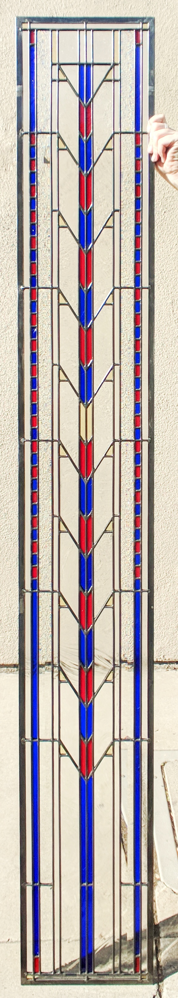 stained glass leaded glass design legacy glass studios menlo park bay area california custom design modern craftsman frank lloyd wright baroque seedy bevels prism rough rolled cathedral glass sidelight.JPG