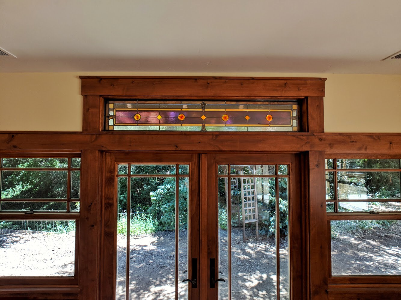 stained glass leaded glass design legacy glass studios menlo park bay area california custom design craftsman home mouth blown rondels tulip design transom insulated window.JPG