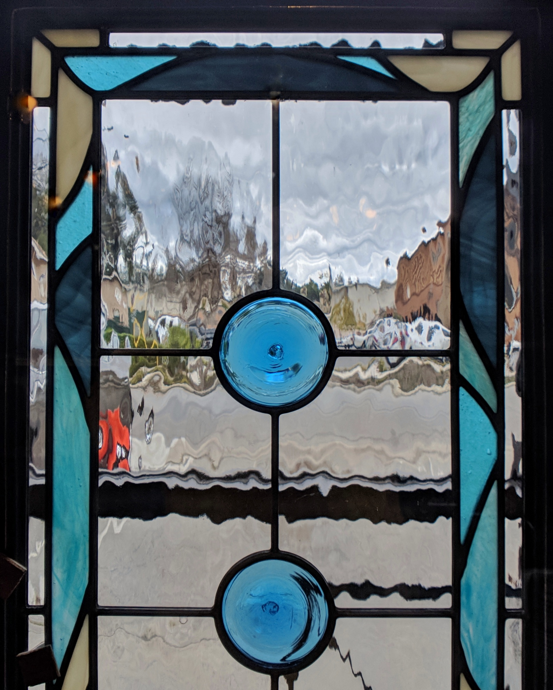 stained glass leaded glass design legacy glass studios menlo park bay area california custom design insulated window waterglass mouth blown rondel craftsman home ocean inspired spa bathroom close up.jpeg