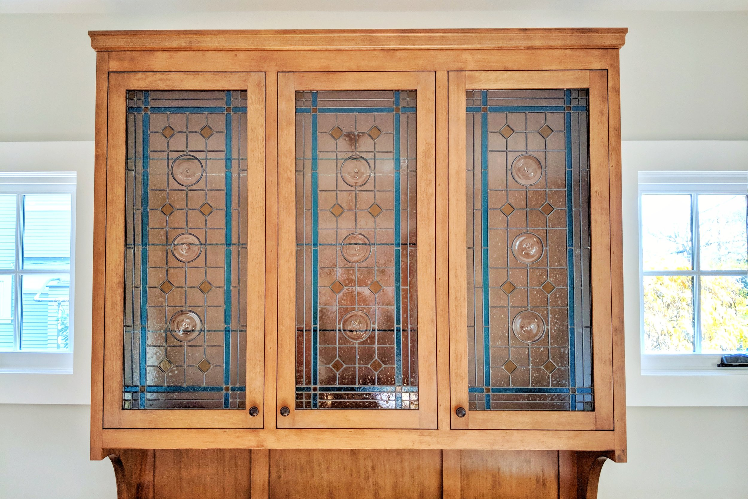 stained glass leaded glass design legacy glass studios menlo park bay area california custom design modern installed craftsman cabinet glass mouth blown rondel bendheim seedy glass cathedral glass.JPG