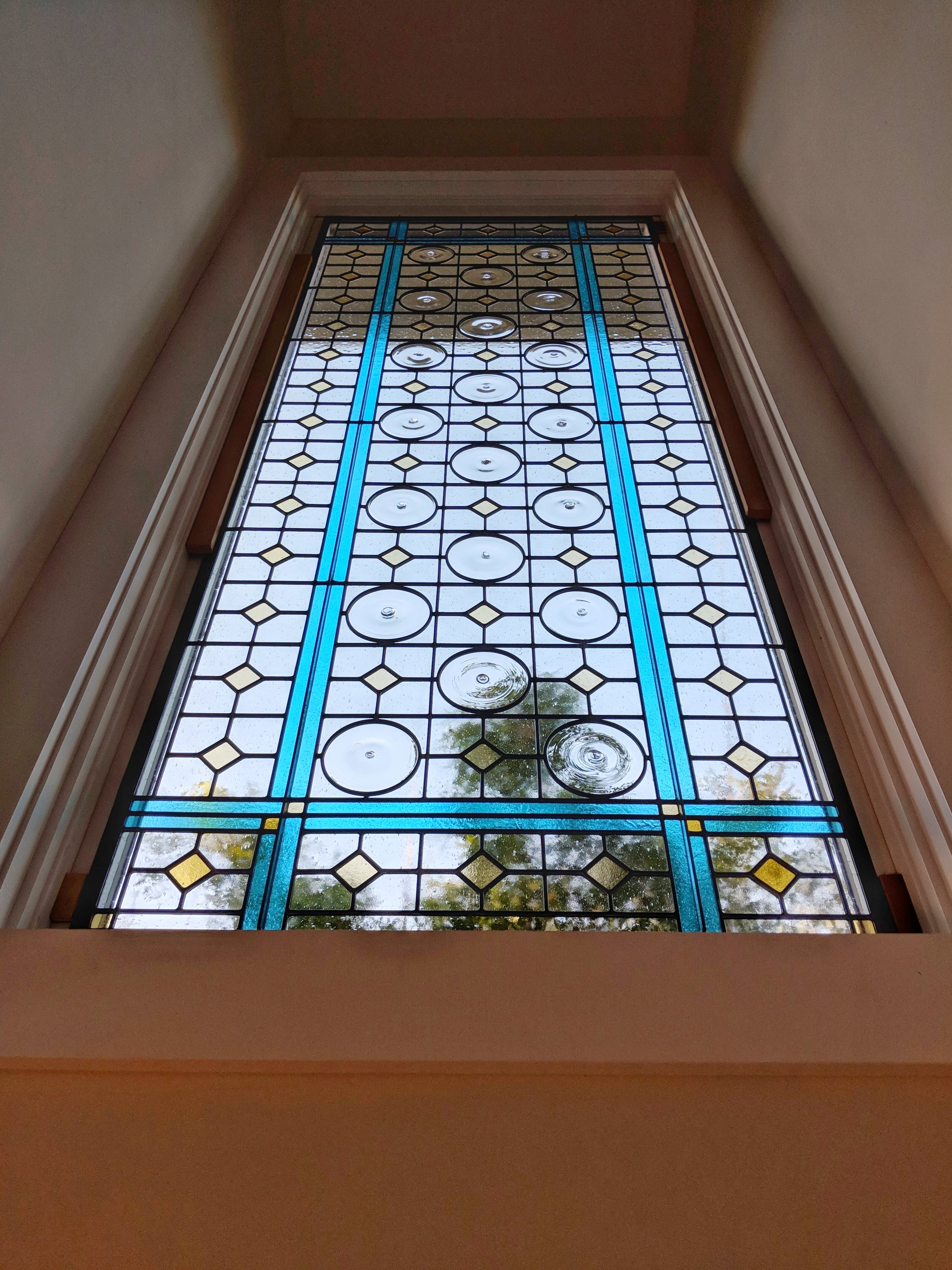 stained glass leaded glass design legacy glass studios menlo park bay area california custom design modern craftsman stairwell window mouth blown rondel pattern bendheim seedy glass cathedral glass bright.JPG