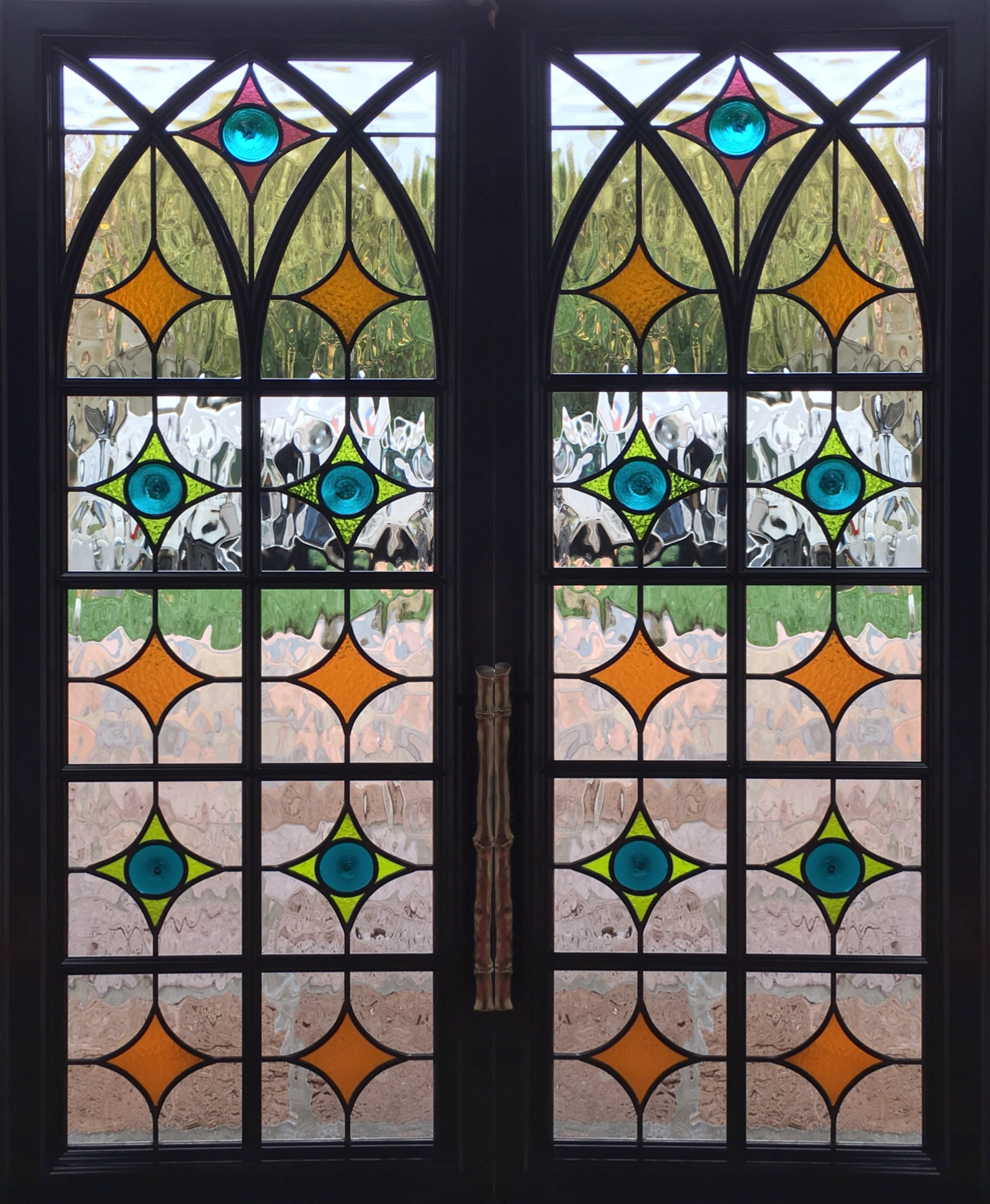 stained glass leaded glass design legacy glass studios menlo park bay area california custom design rondels spanish influence interior design arched cabinet glass.JPG