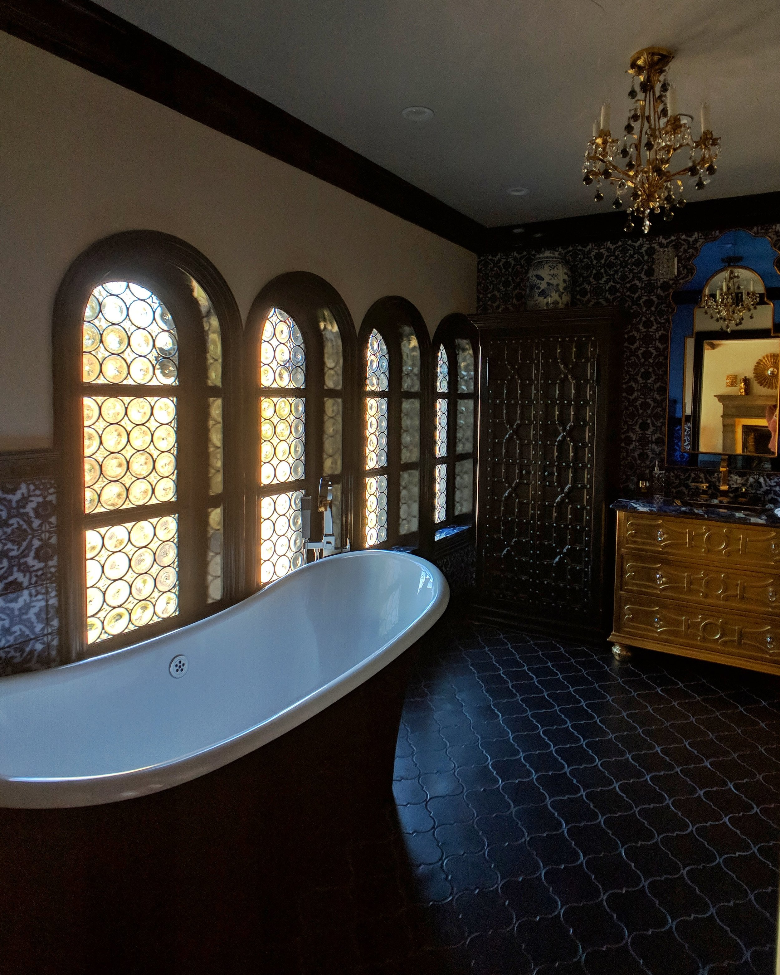 stained glass leaded glass design legacy glass studios menlo park bay area california custom design rondels spanish influence interior design tile privacy glass black bathroom arched windows tub.jpeg