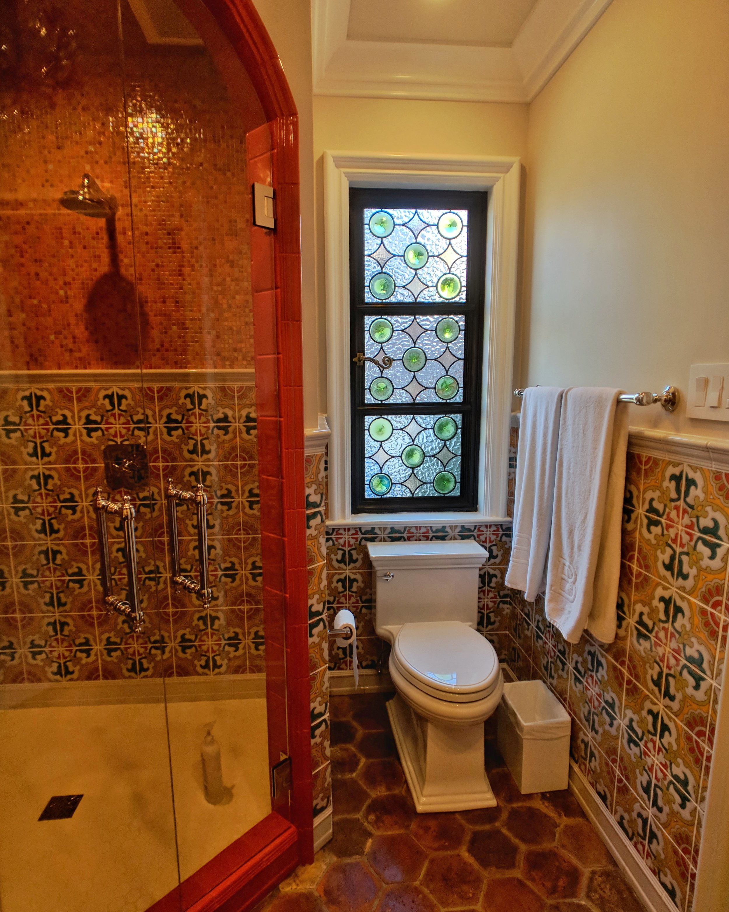 stained glass leaded glass design legacy glass studios menlo park bay area california custom design rondels spanish influence interior design tile privacy glass.jpeg