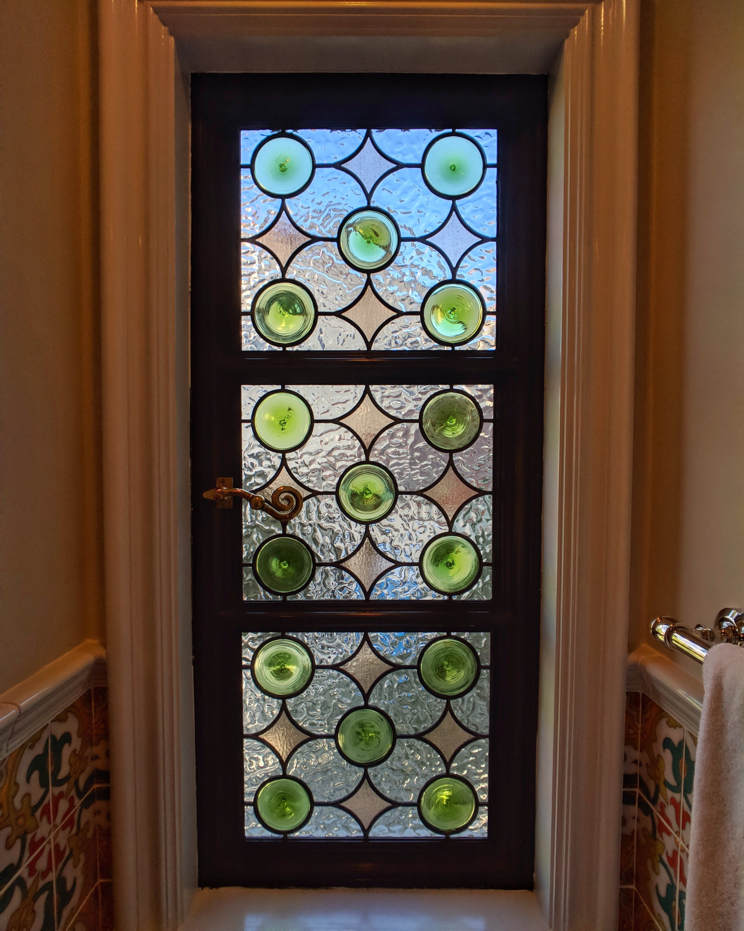 stained glass leaded glass design legacy glass studios menlo park bay area california custom design rondels spanish influence interior design tile privacy glass2.jpeg