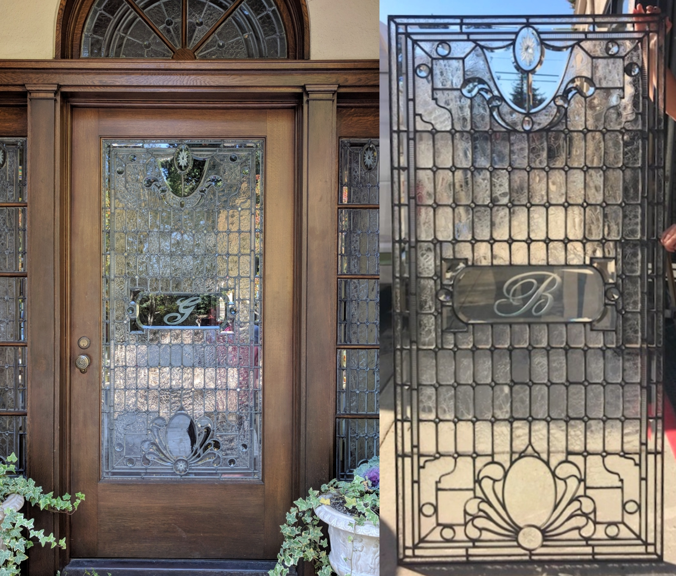 stained glass leaded glass repair beveled glass etched glass initial before and after.jpeg